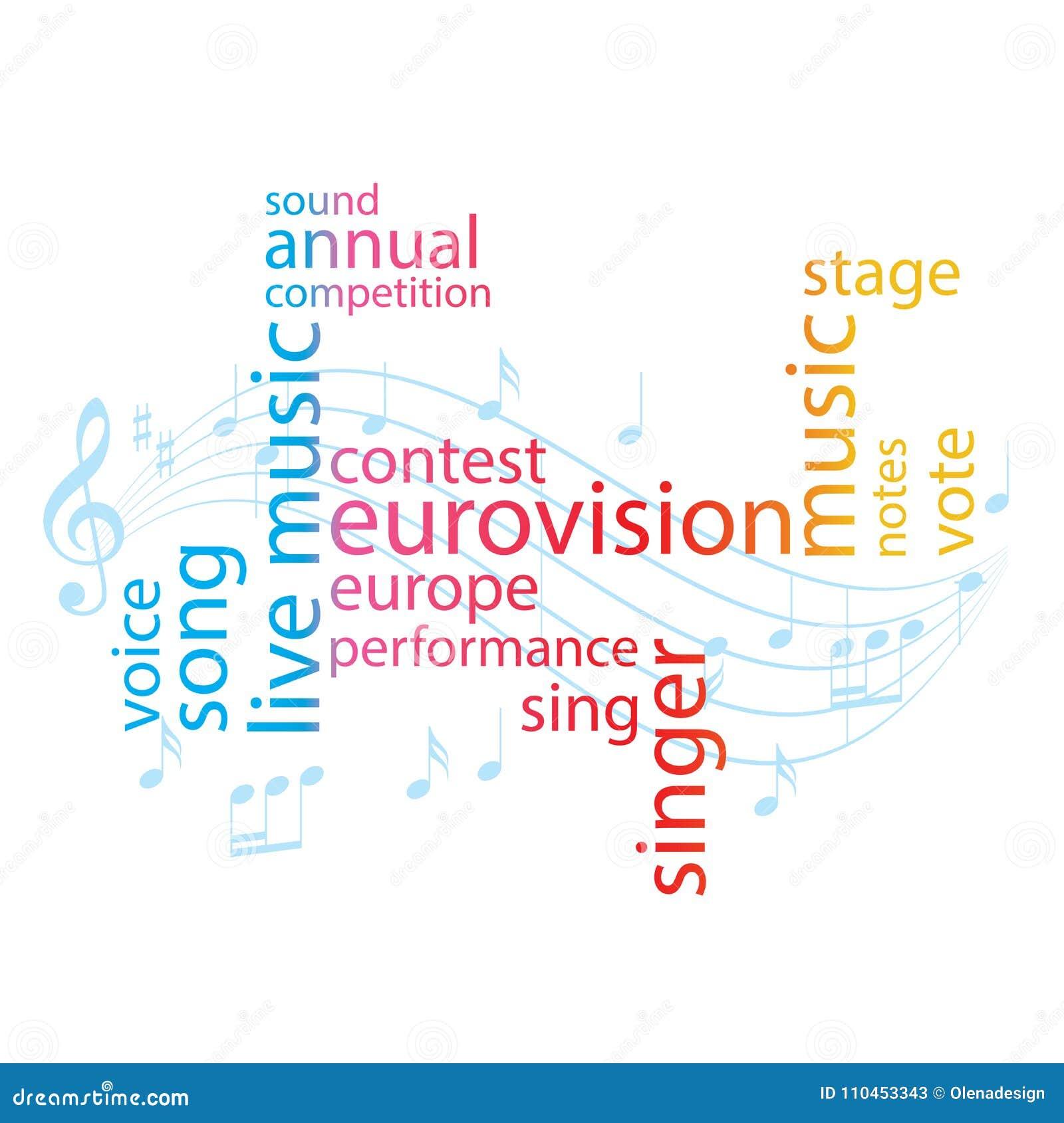 Färga ordcollage - strid för den eurovision sången - vektorn