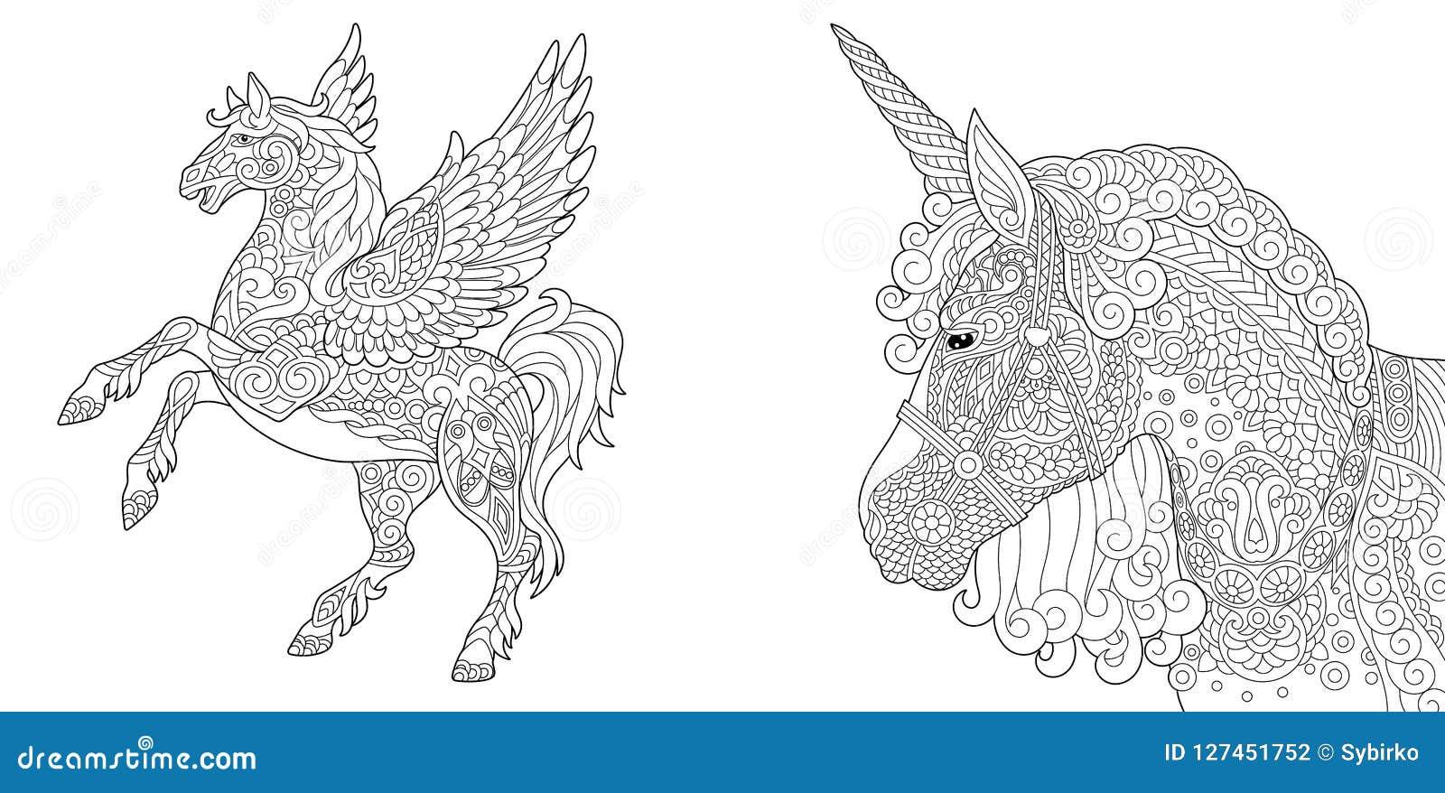Färga sidor med enhörningen och pegasus