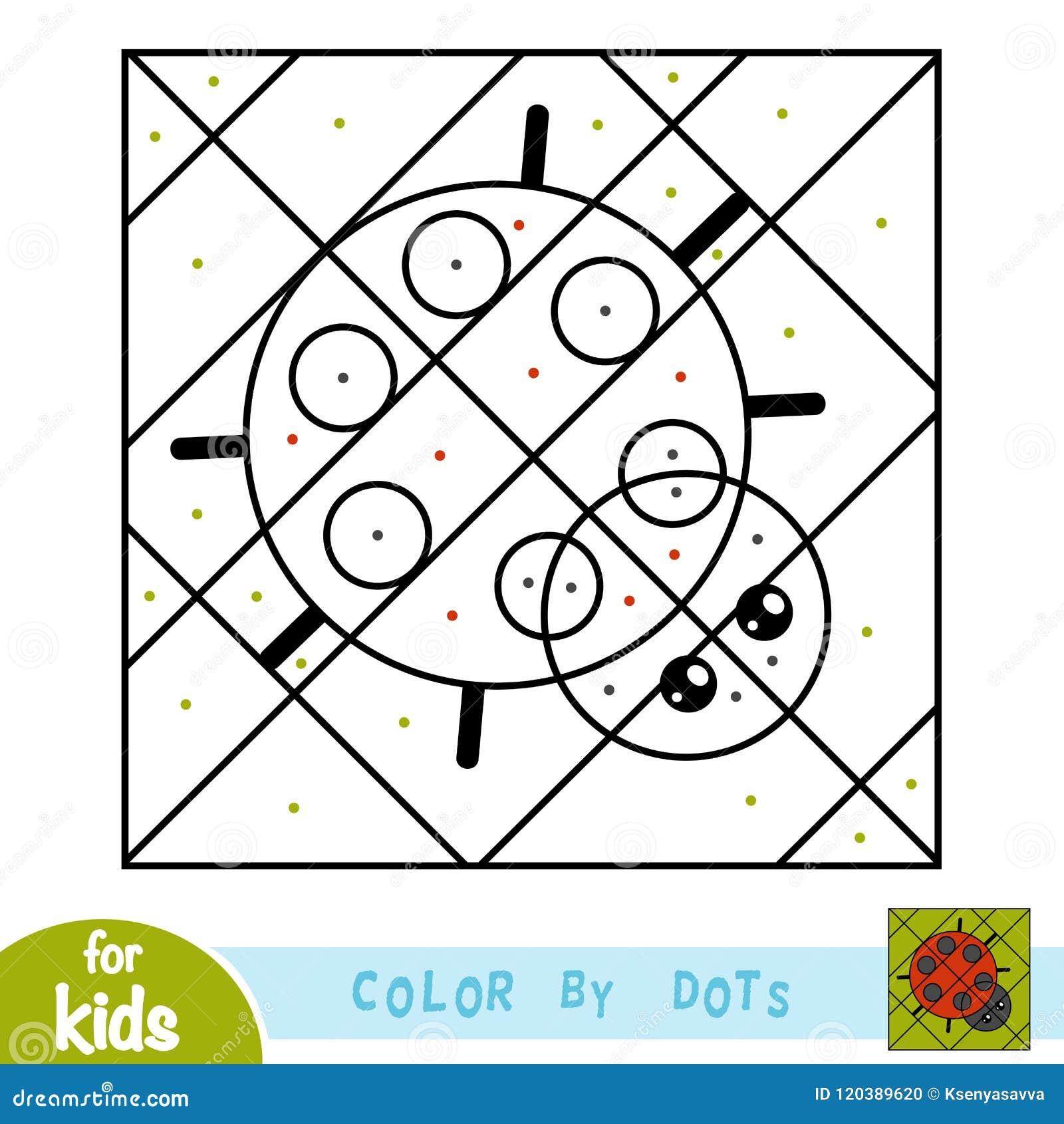Färga vid prickar, leken för barn, nyckelpiga