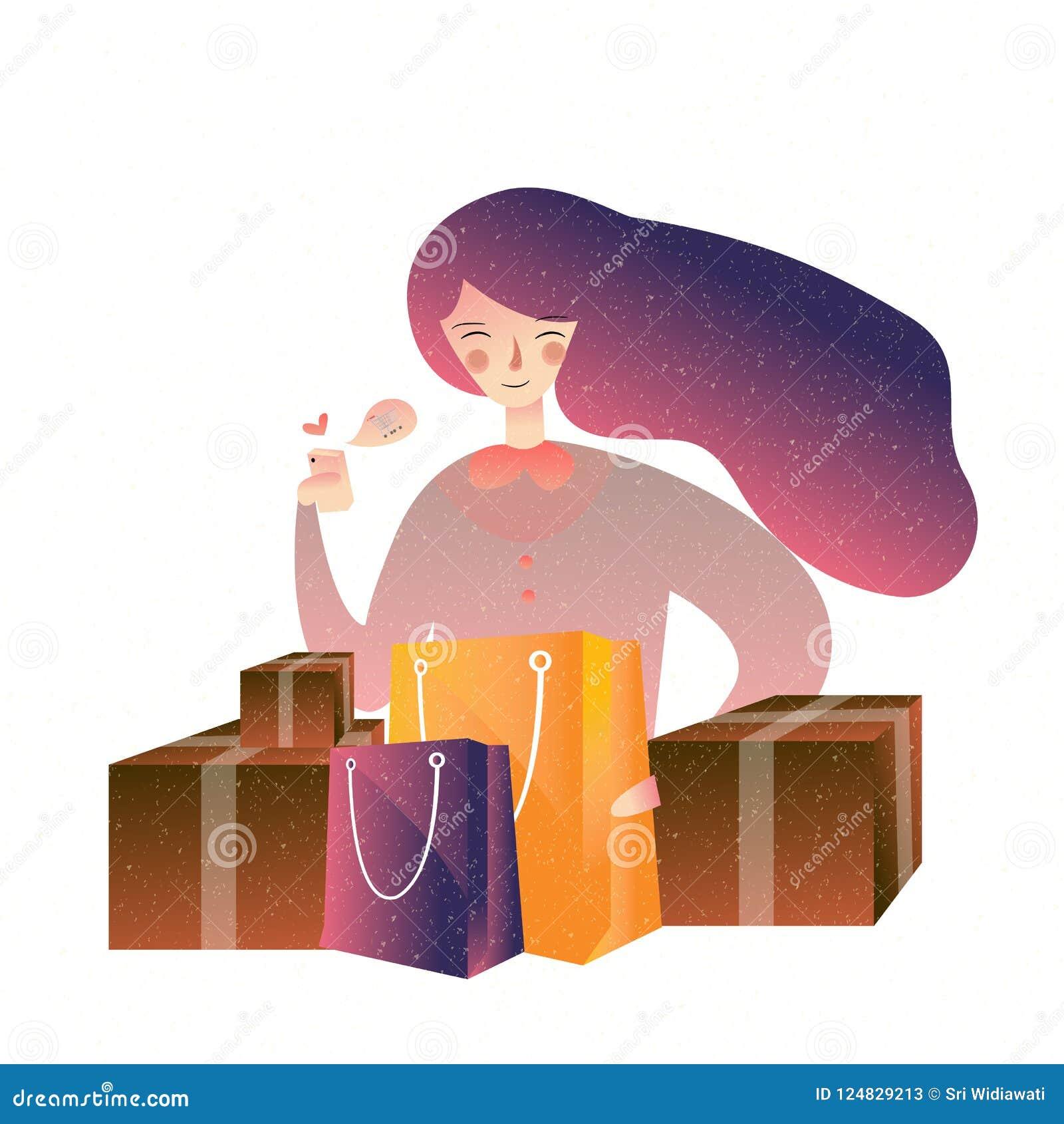 Färgar den hållande shoppingpåsen för den lyckliga kvinnan många att tycka om Consumerism nline, kommers, livsstilbegrepp
