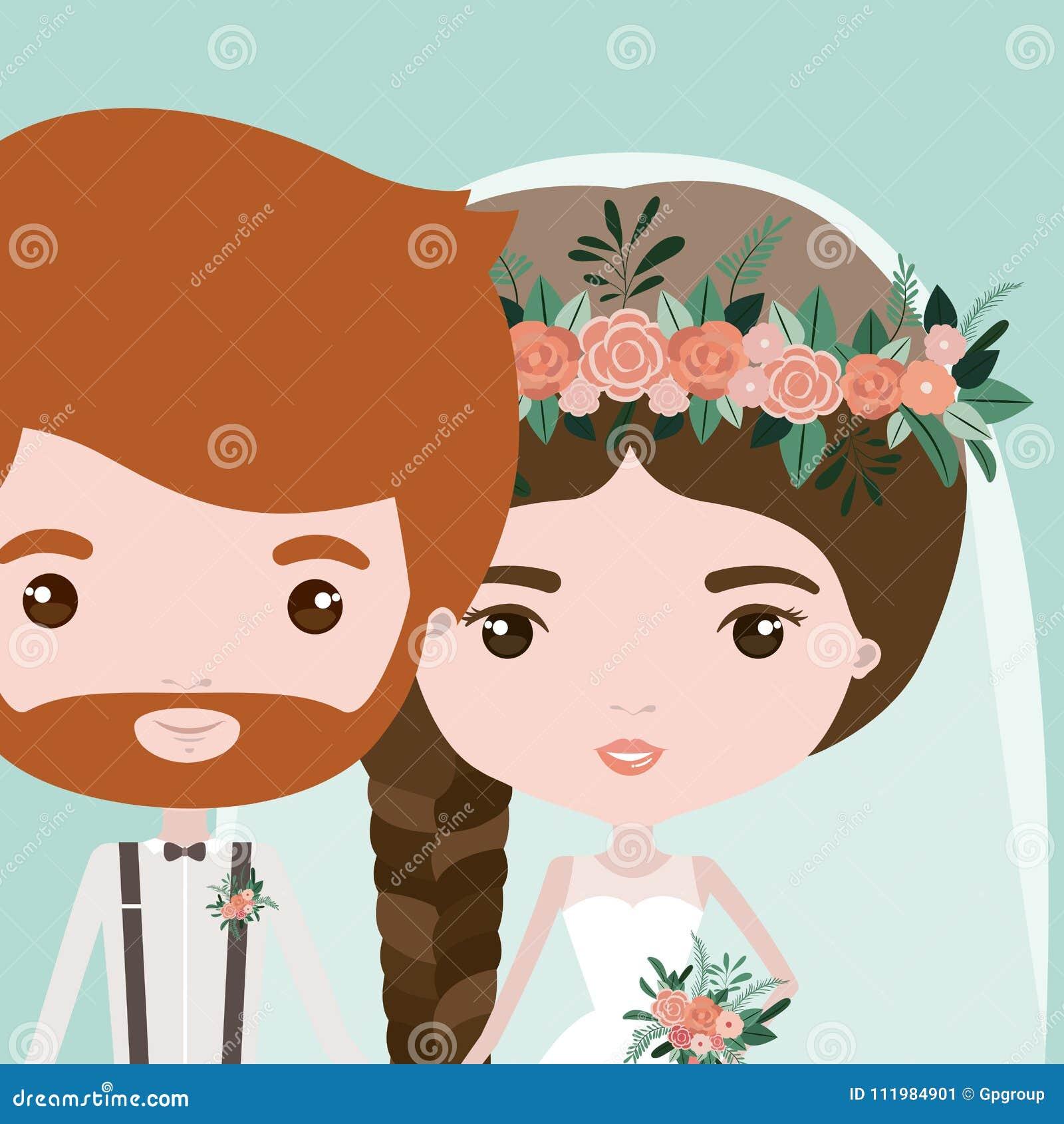Färgbakgrund med halva kropppar av precis den gifta skäggiga mannen och kvinnan med flätad trådhår