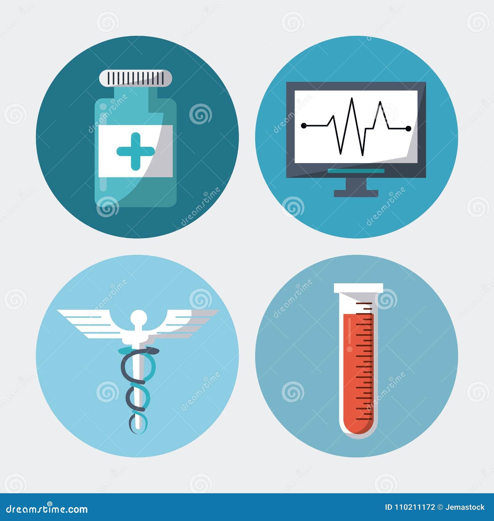 Färgbakgrund med rundaramar med medicinskt symbol för caduceus för beståndsdelpreventivpillerprovrör och pulsen övervakar