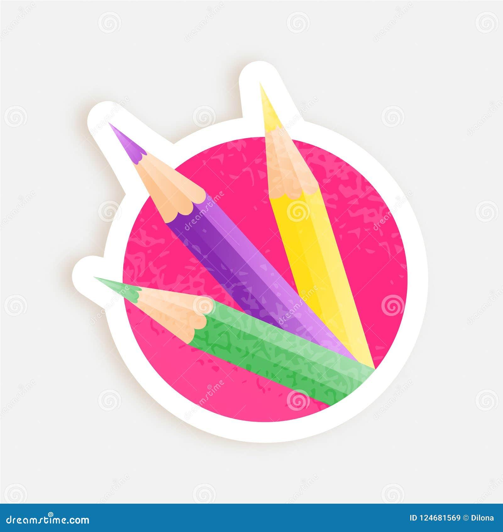 Färgblyertspennor som är klara att skriva ut klistermärken Erbjudande- eller försäljningsadvertizingdesign Realistisk design