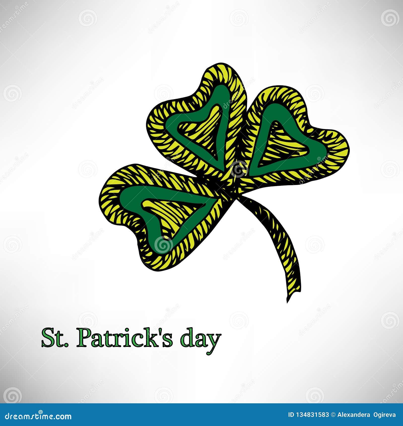 Färgbroschyrväxt av släktet Trifolium, på Sts Patrick dag för Etnisk bohemisk bakgrund med det lyckliga ordet dekorativ tappning