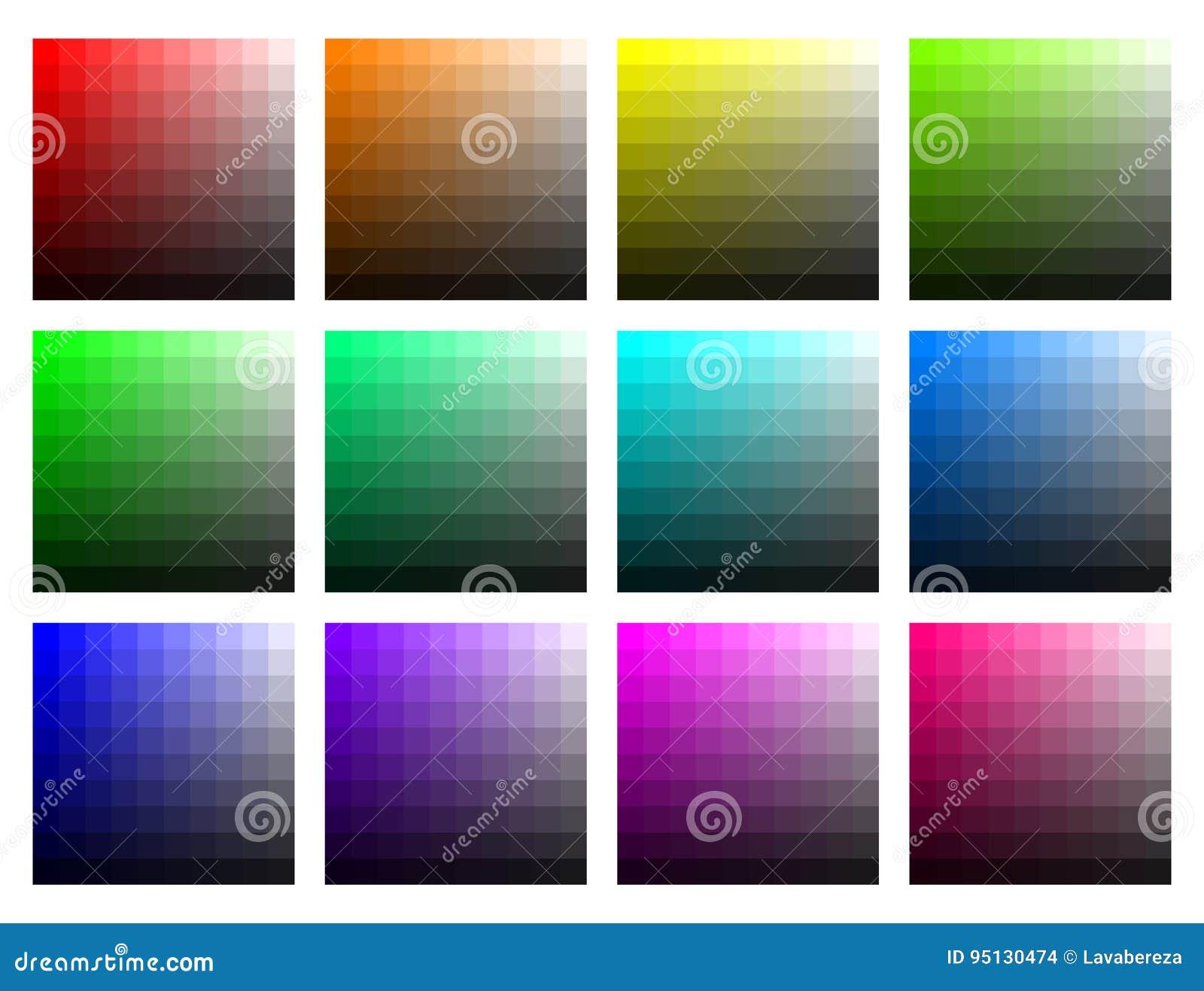 Färgflikar med ljusstyrka och mättande vektor
