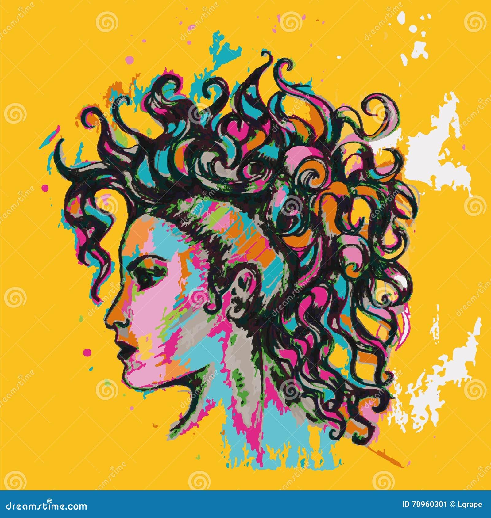 Färgglad affisch frisyr krullar flickan