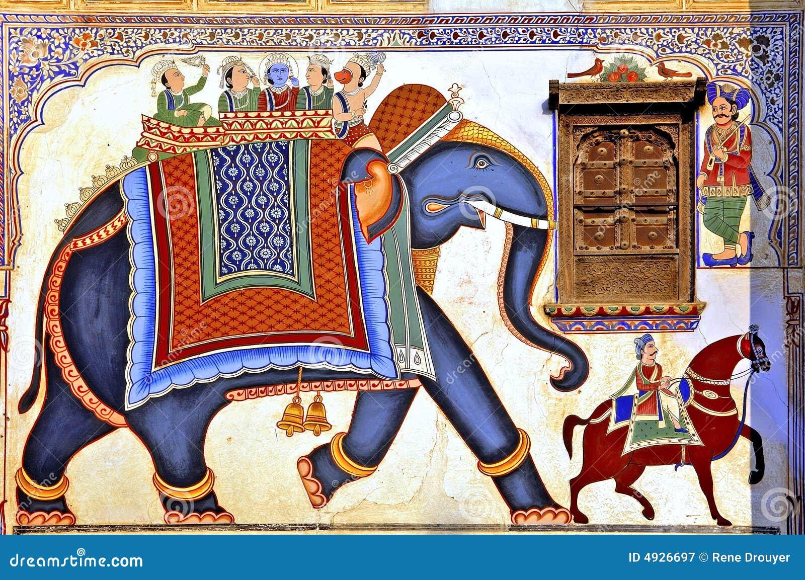Färgglad frescoesindia mandawa
