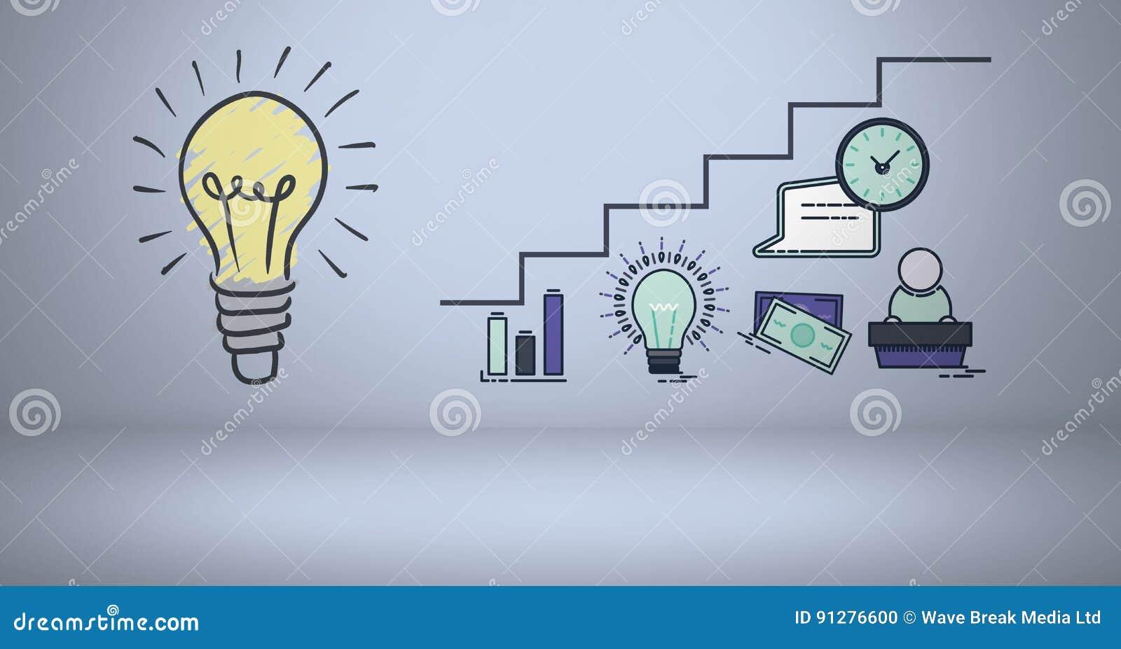 Färgglad lightbulb med grafiska teckningar för affär