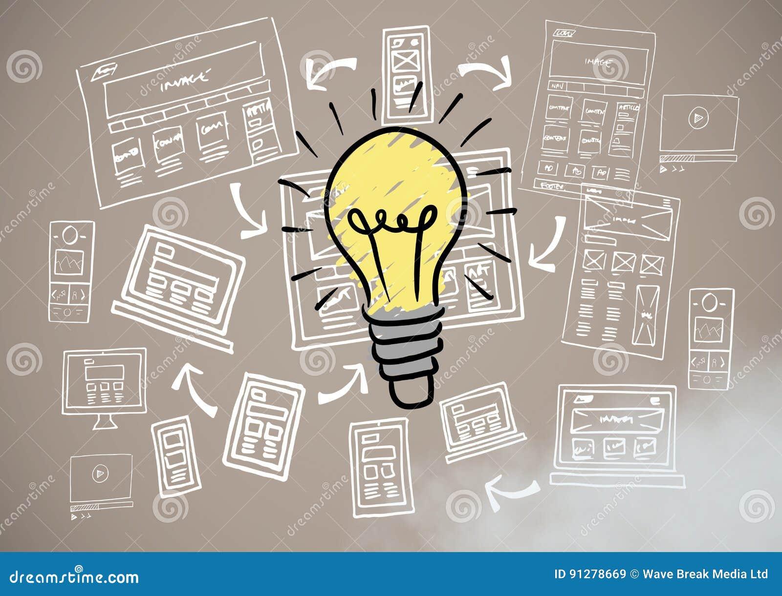 Färgglade lightbulb- och bilddatorteckningsdiagram
