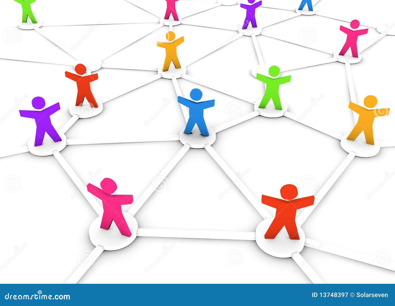 Färgglatt nätverksfolk