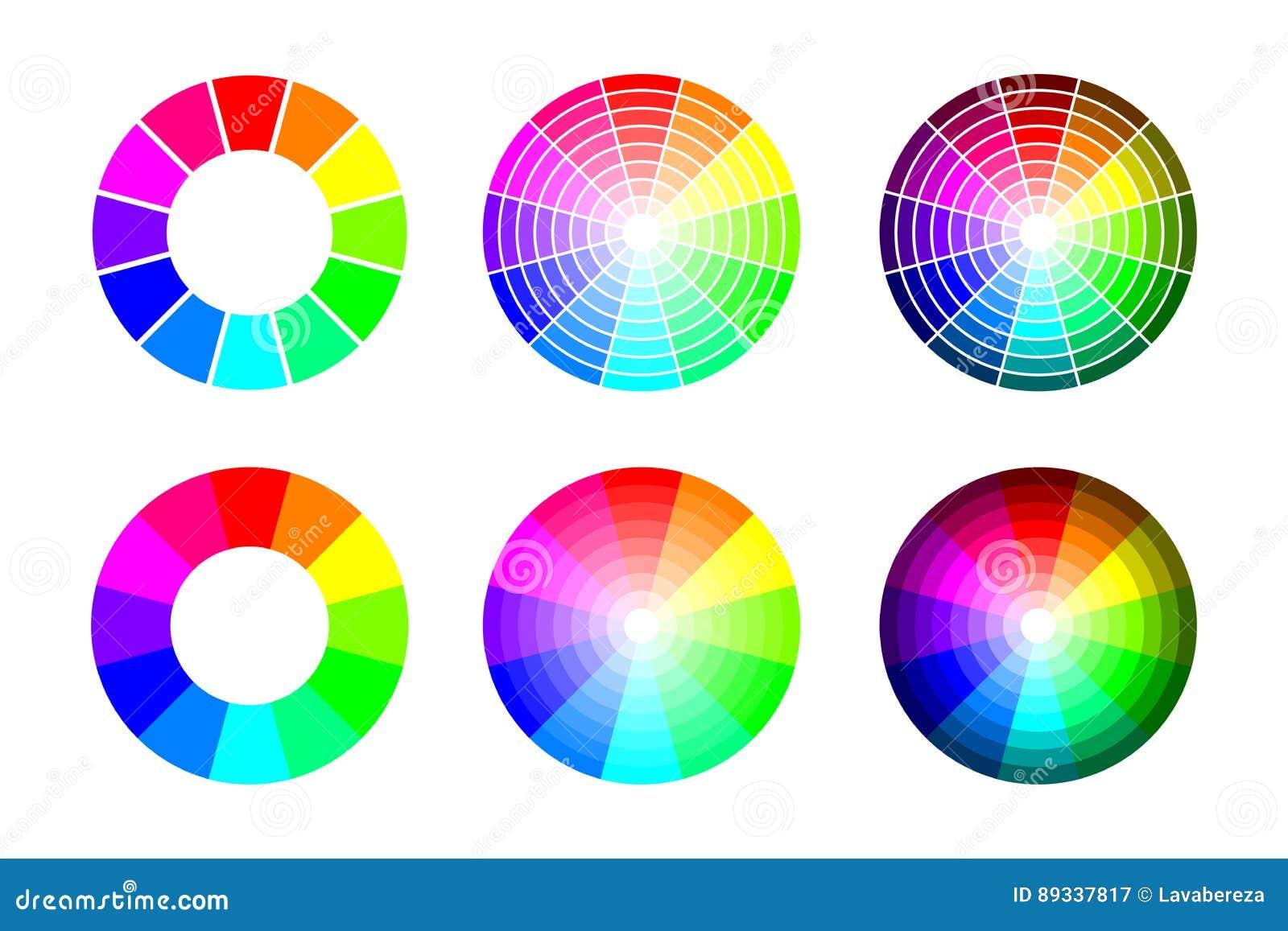 Färghjul från 12 färg rgb, vektoruppsättning på vit bakgrund