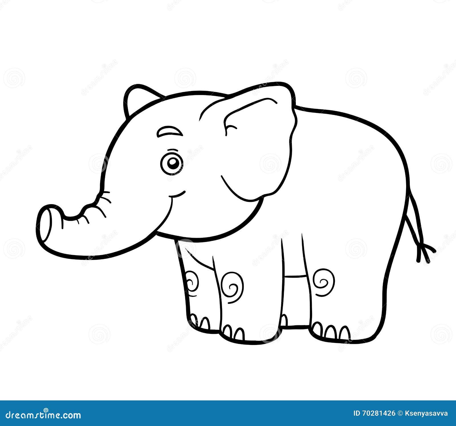Färgläggningbok, färgläggningsida (elefanten)