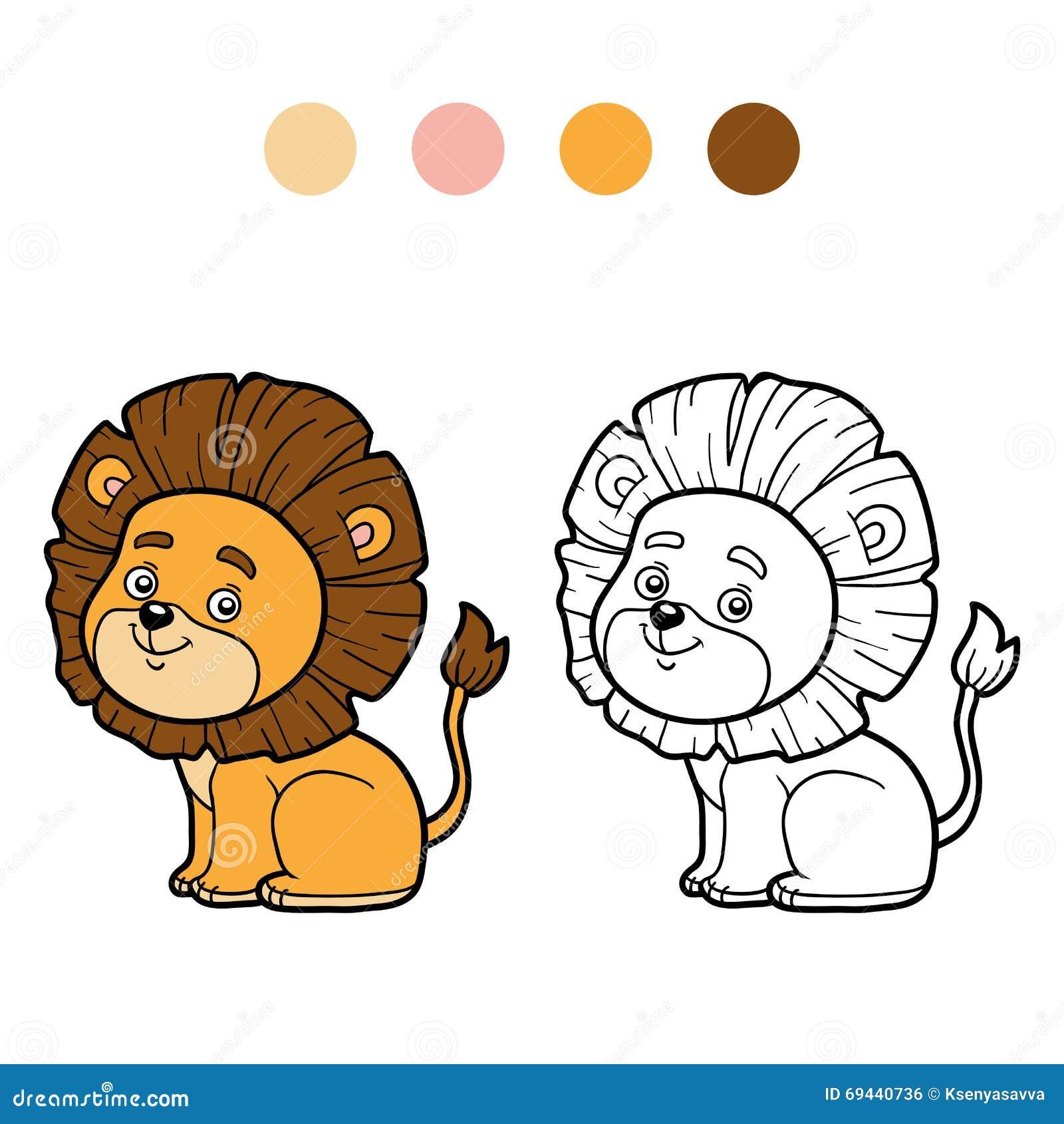 Färgläggningbok för barn, litet lejon