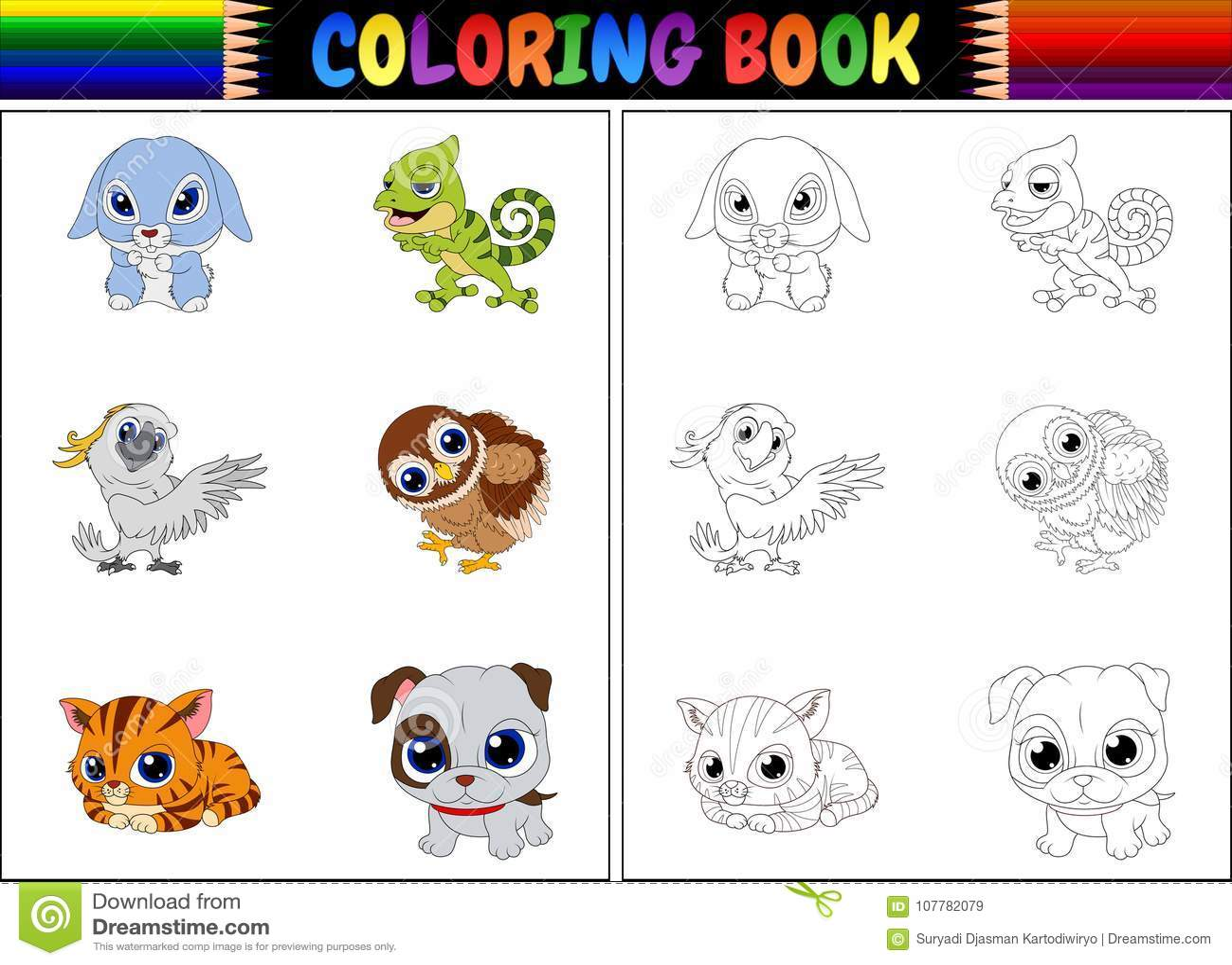 Färgläggningbok med djurtecknad filmsamlingen