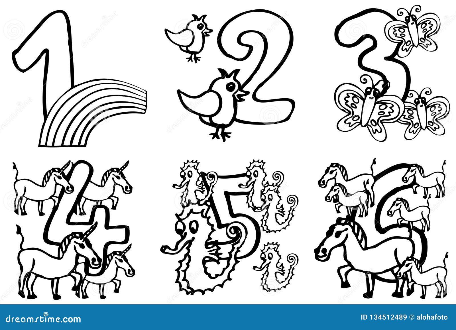 Färgläggningbok - nummer för den lyckliga födelsedagen som spelar och som lär nummer med bilder om hobbyer från 1 - 6 för barndel
