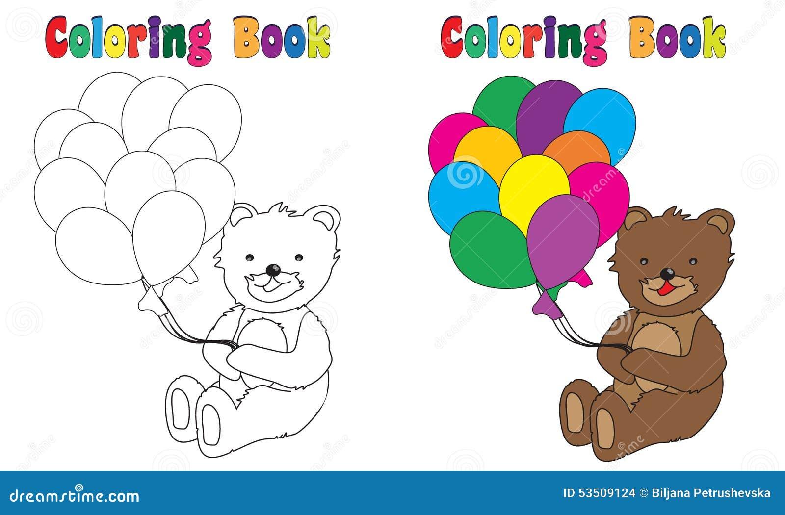 Färgläggningbok Teddy Balloons