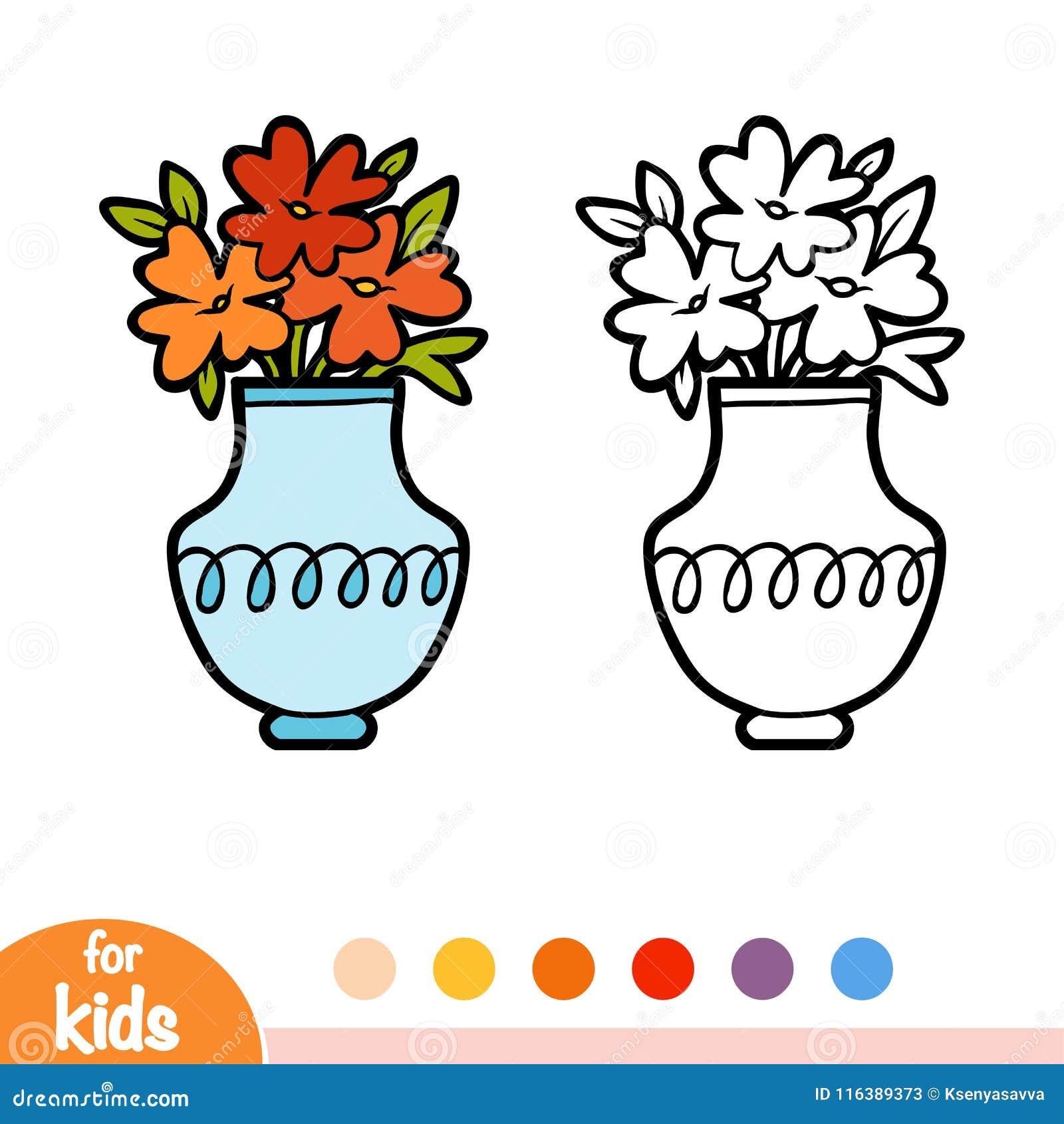 Färgläggningbok, vas och blommor