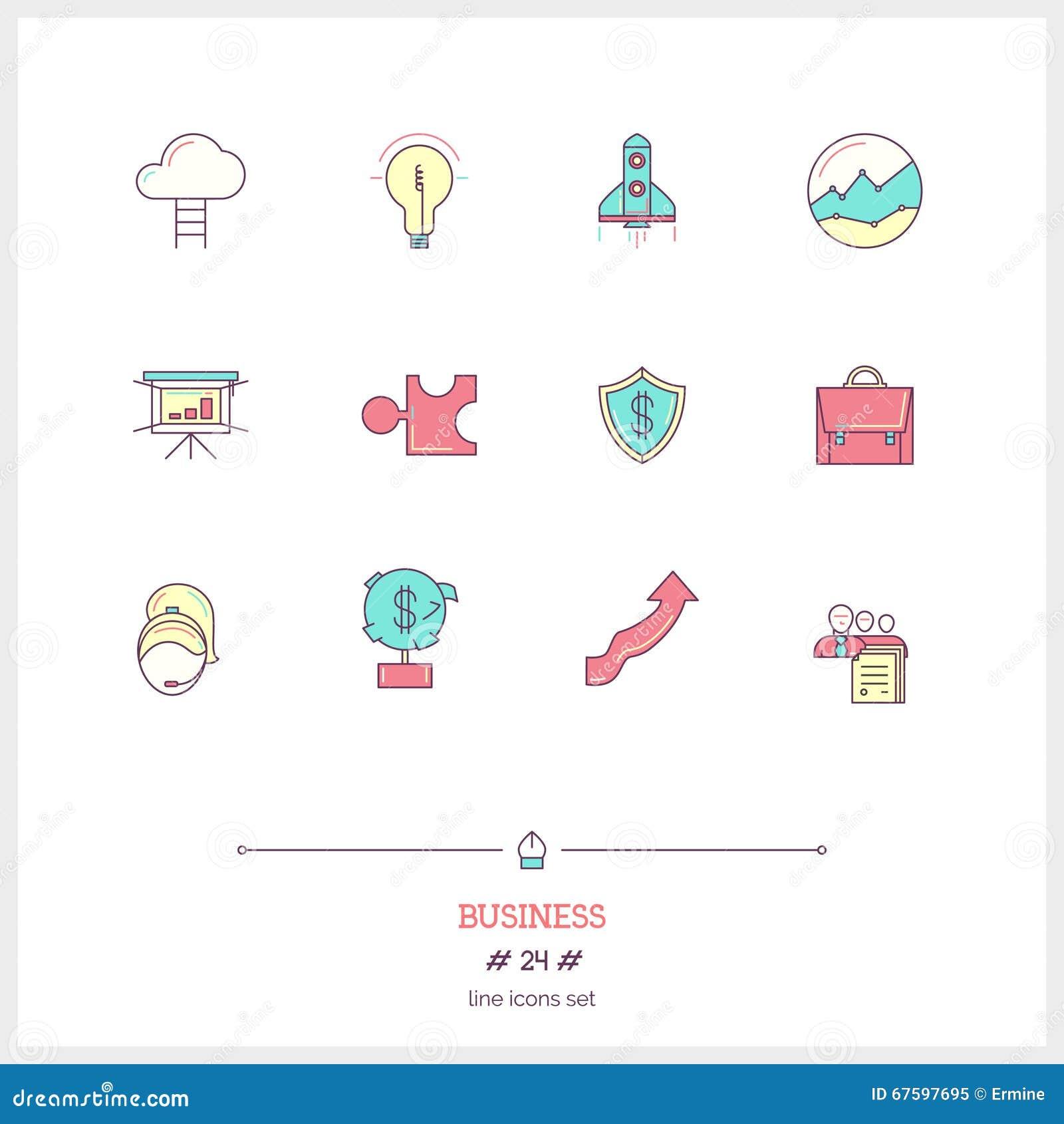 Färglinjen symbolsuppsättning av affärsprocessen, anmärker och bearbetar eleme