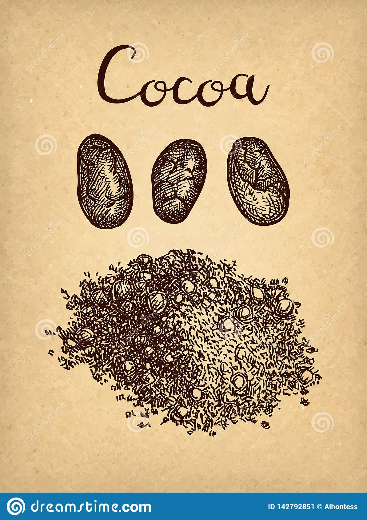 Färgpulver skissar av kakaopulver