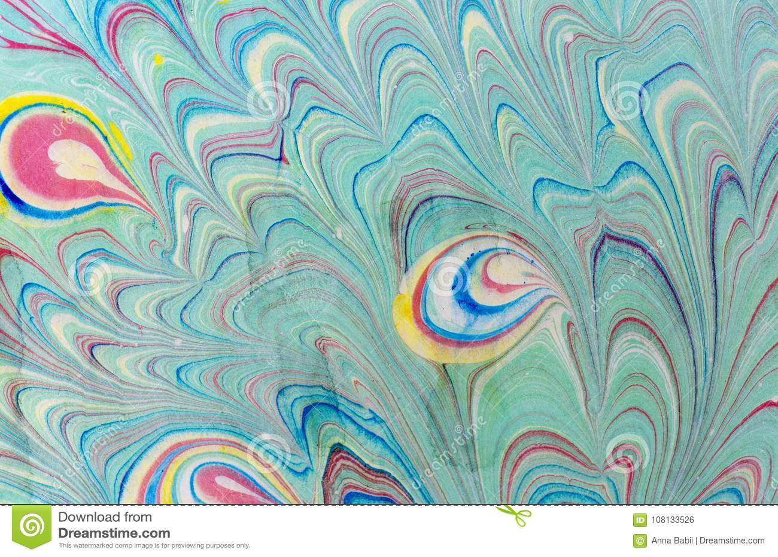Färgpulvermarmortextur Ebru handgjord vågbakgrund Yttersida för Kraft papper Unik konstillustration Vätskemarmorera textur