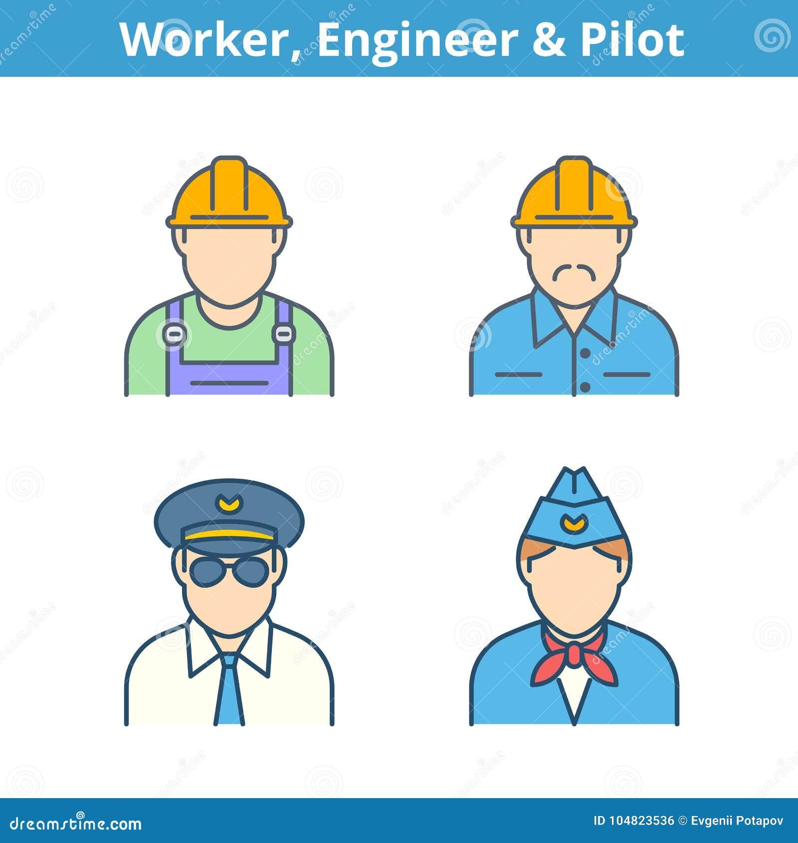 Färgrik avataruppsättning för ockupationer: pilot stewardess, tekniker, wo