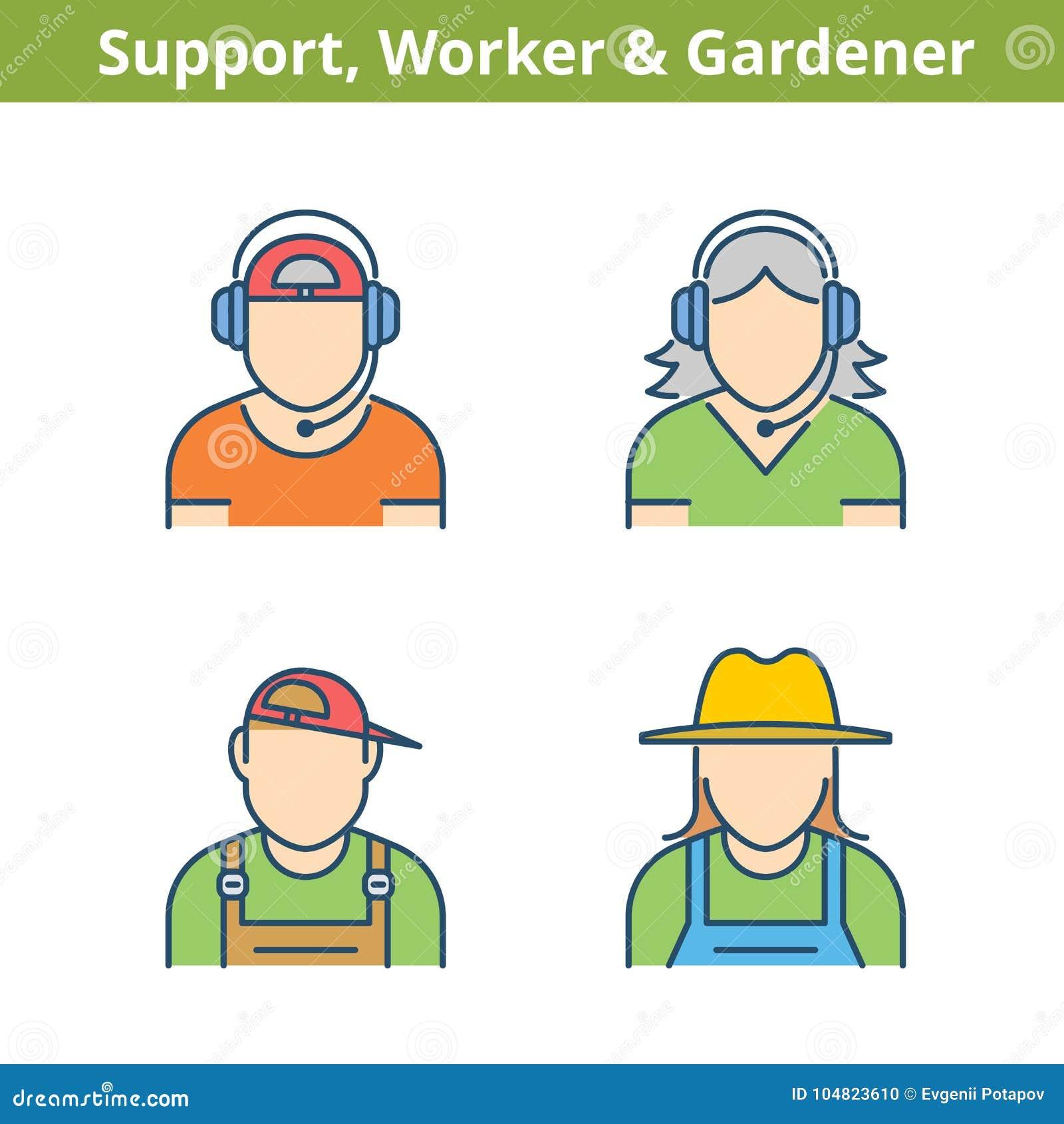Färgrik avataruppsättning för ockupationer: service arbetare, trädgårdsmästare Thi