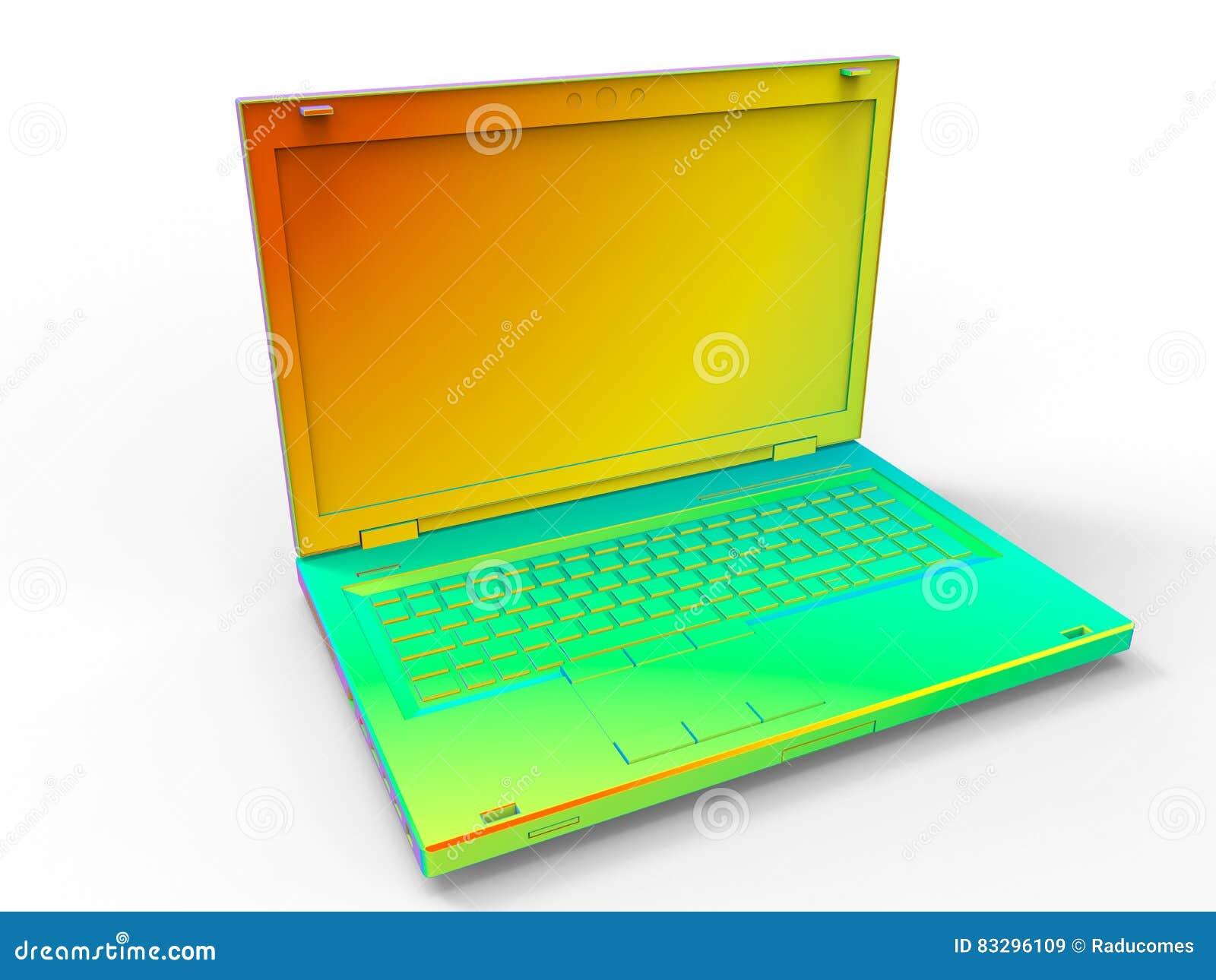 Färgrik bärbar dator