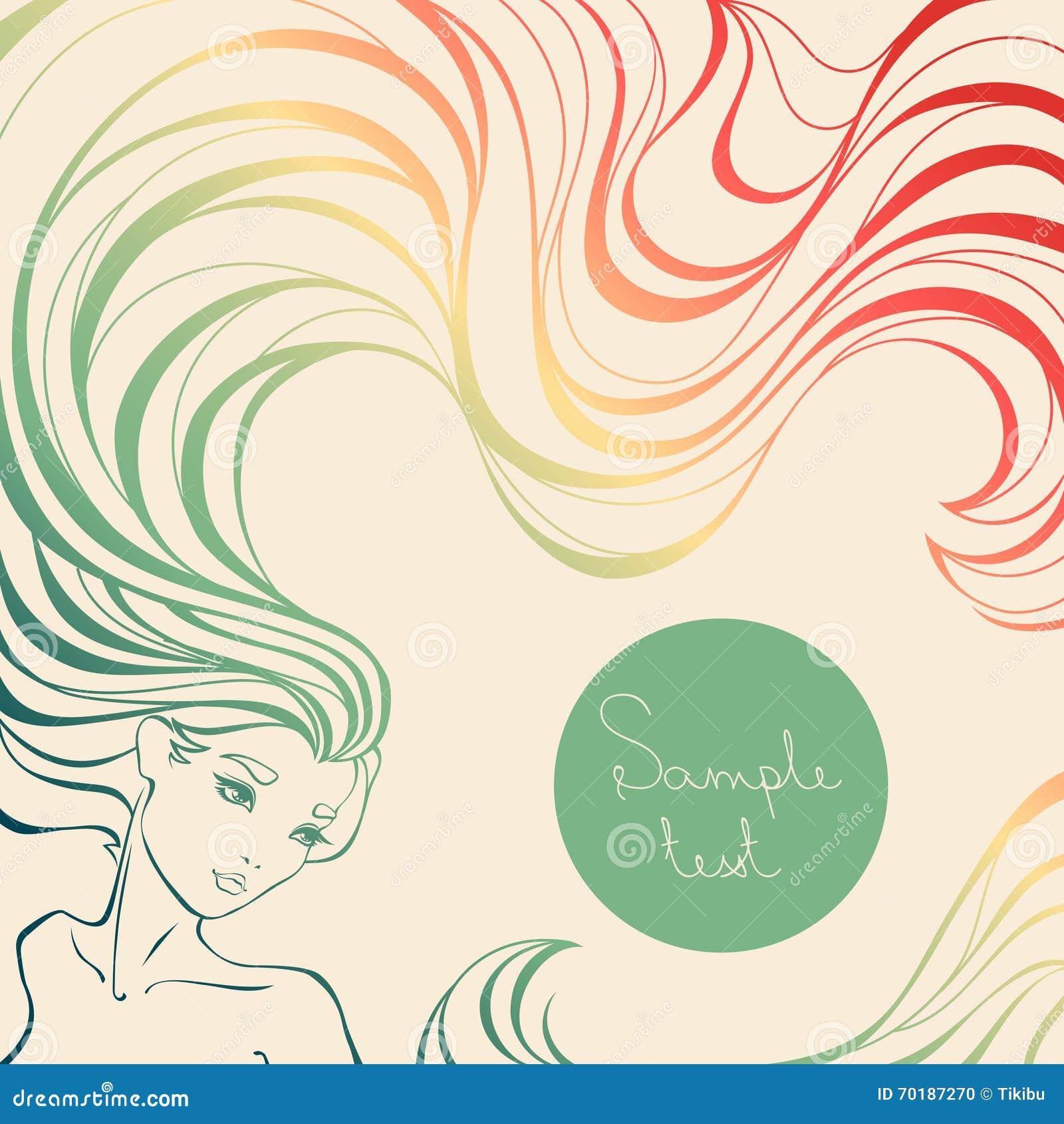 Färgrik bakgrund med den härliga flickan med långt krabbt hår