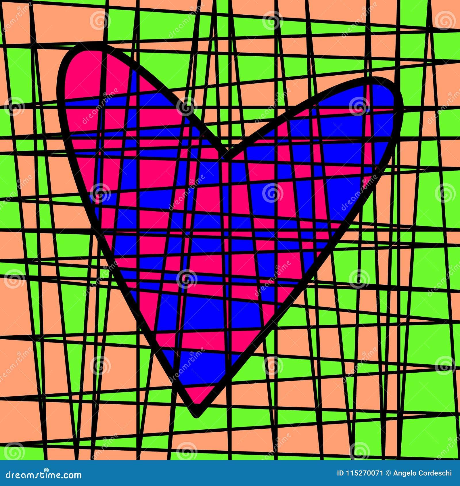 Färgrik belagd med tegel patchwork för hjärta Kulör täppa