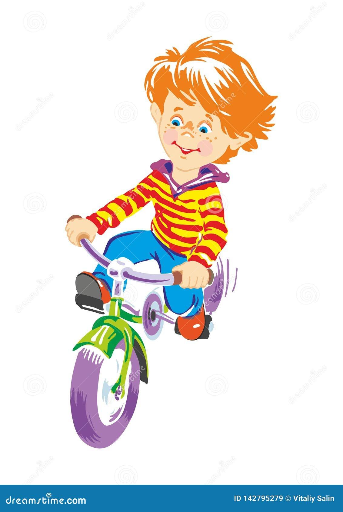 Färgrik bild av en pojke på en cykel
