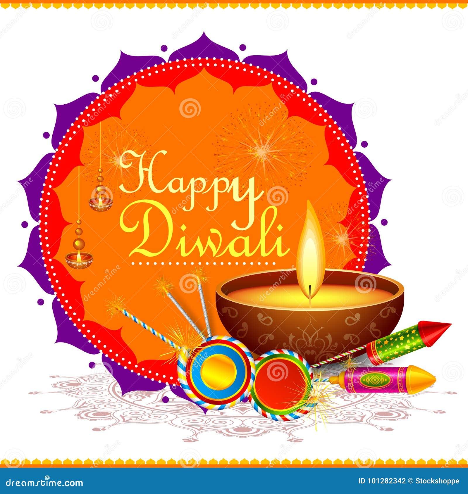 Färgrik brandsmällare med den dekorerade diyaen för den lyckliga Diwali festivalen