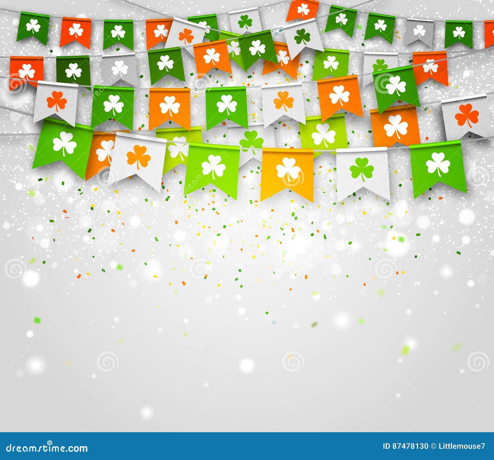Färgrik festlig bunting med växt av släktet Trifolium på ljus bakgrund Dag för St Patrick ` s