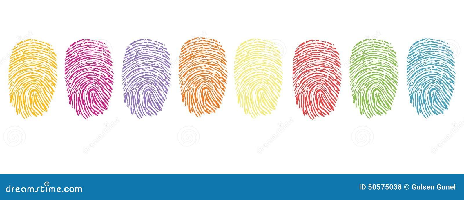 Färgrik fingeravtrycksymbolvektor