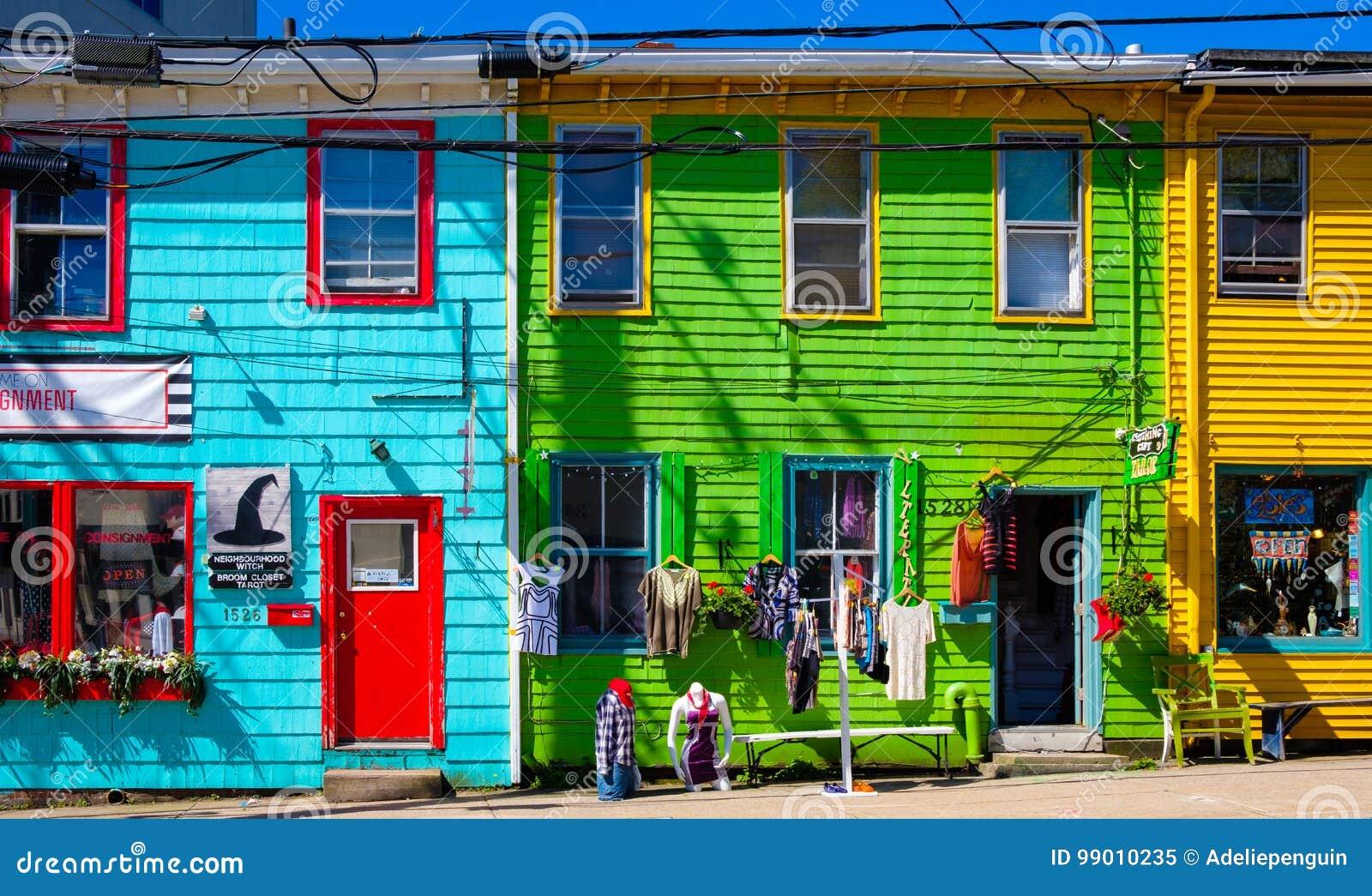 Färgrik gata, Halifax, Nova Scotia, Kanada