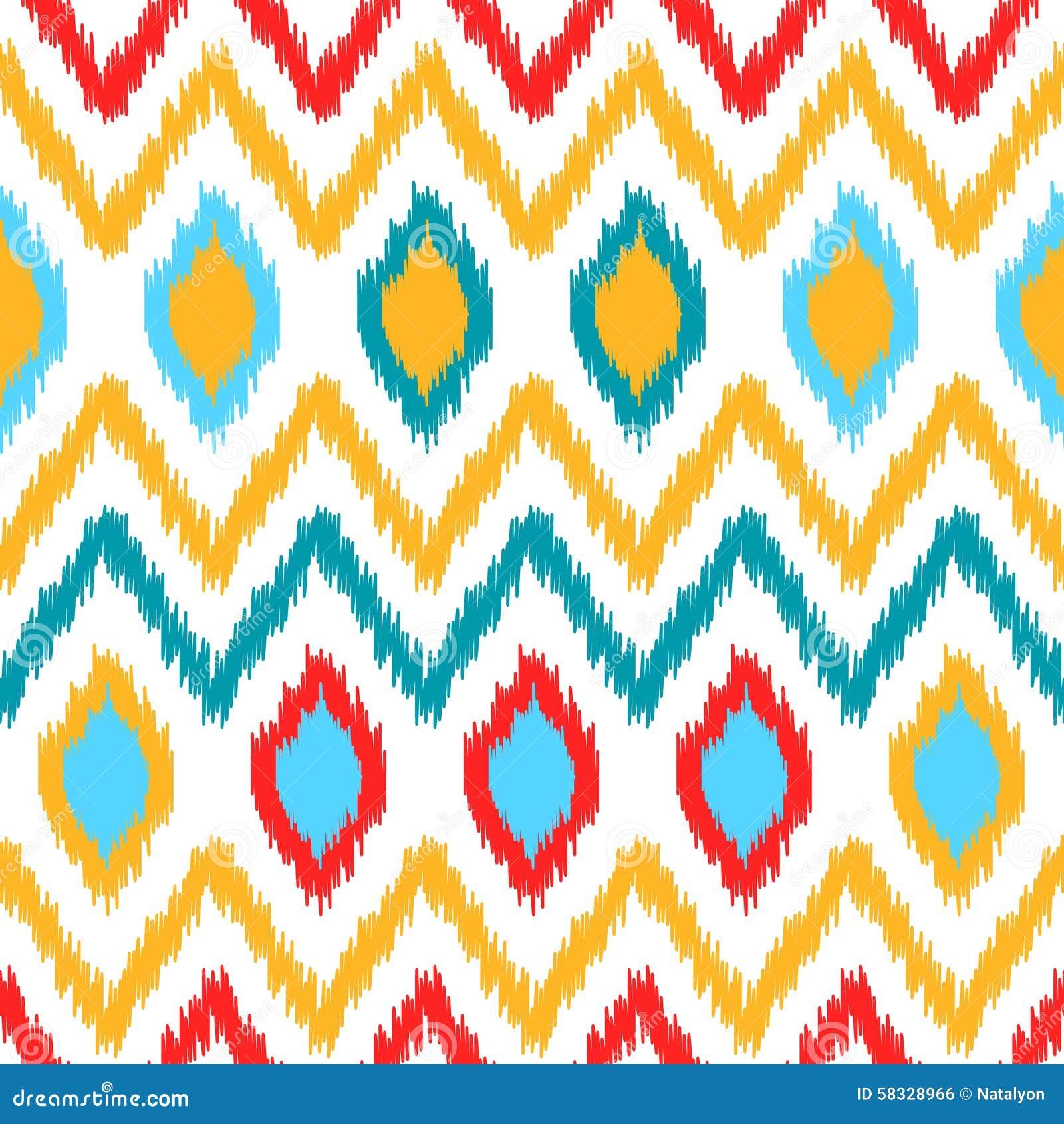 Färgrik geometrisk modell för etniskt ikatabstrakt begrepp i vit, guling, rött och blått, vektor