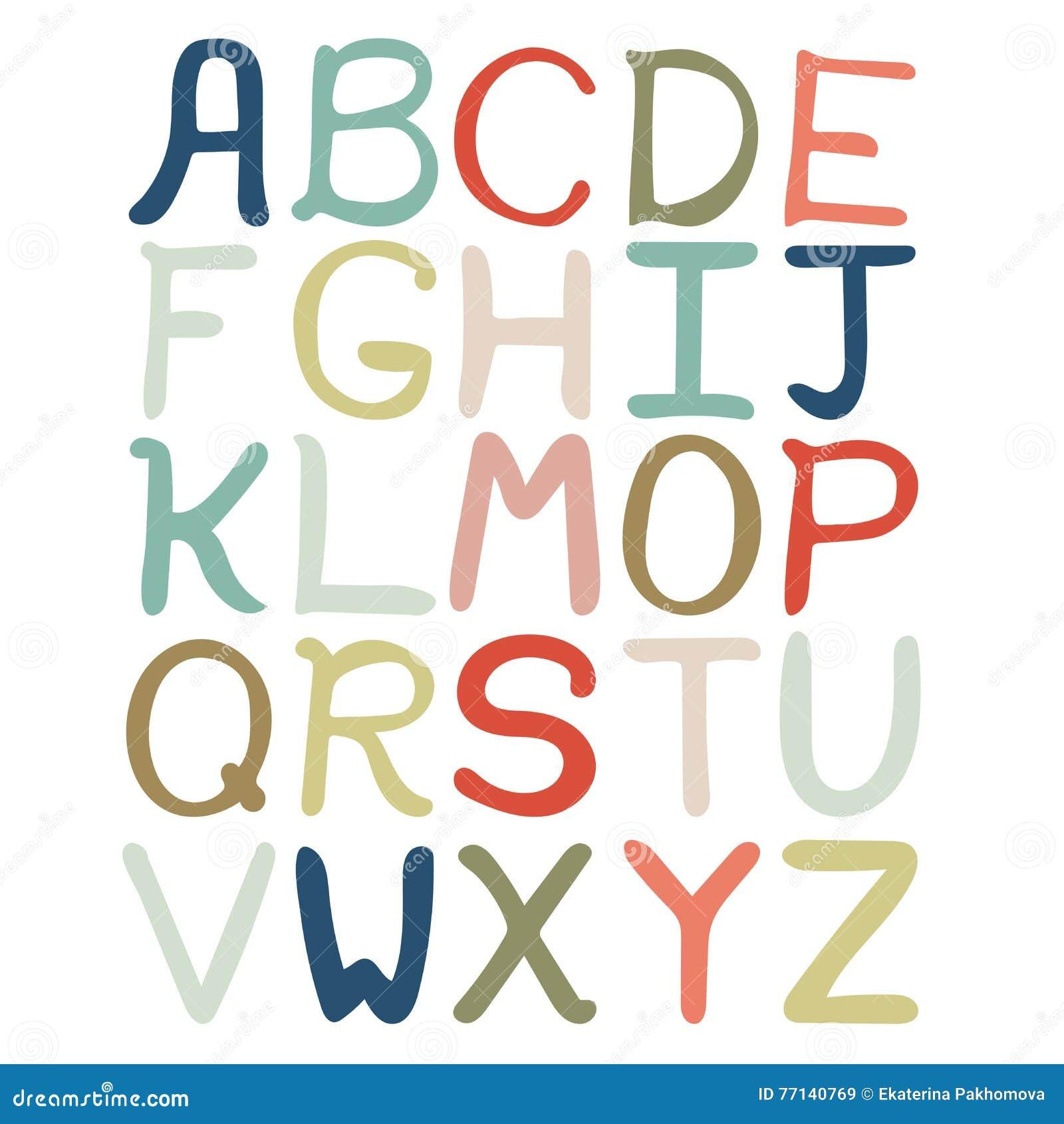 Färgrik hand dragit abstrakt alfabet Isolerat alfabet, plan stil, isolerad stilsort, typ