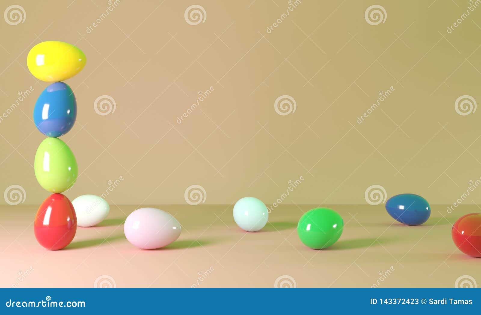 Färgrik illustration för easter ägg 3D