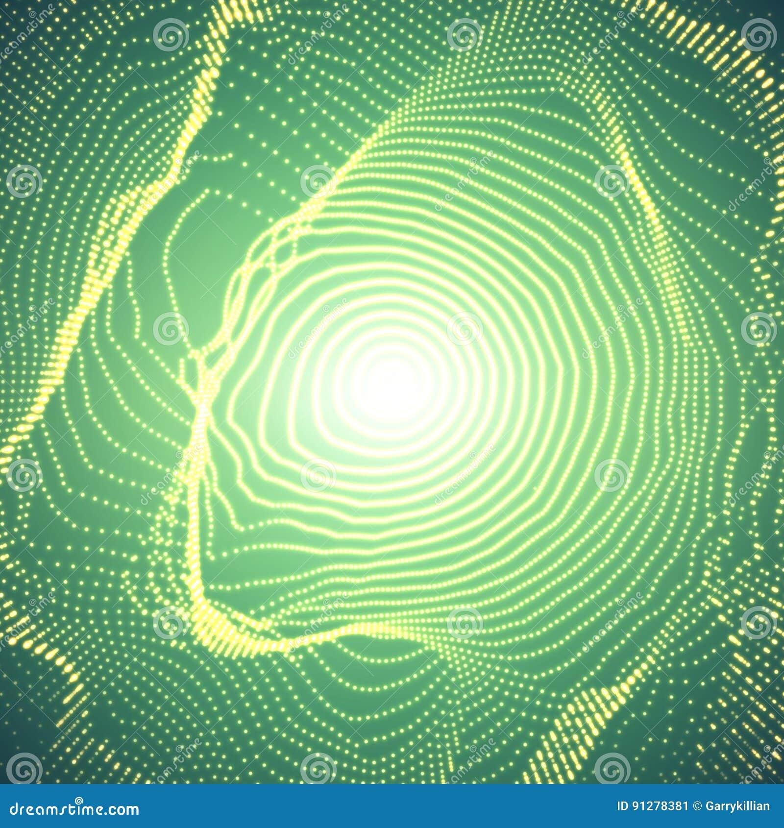 Färgrik ingreppssfär för abstrakt vektor på mörker - grön bakgrund Futuristiskt stilkort