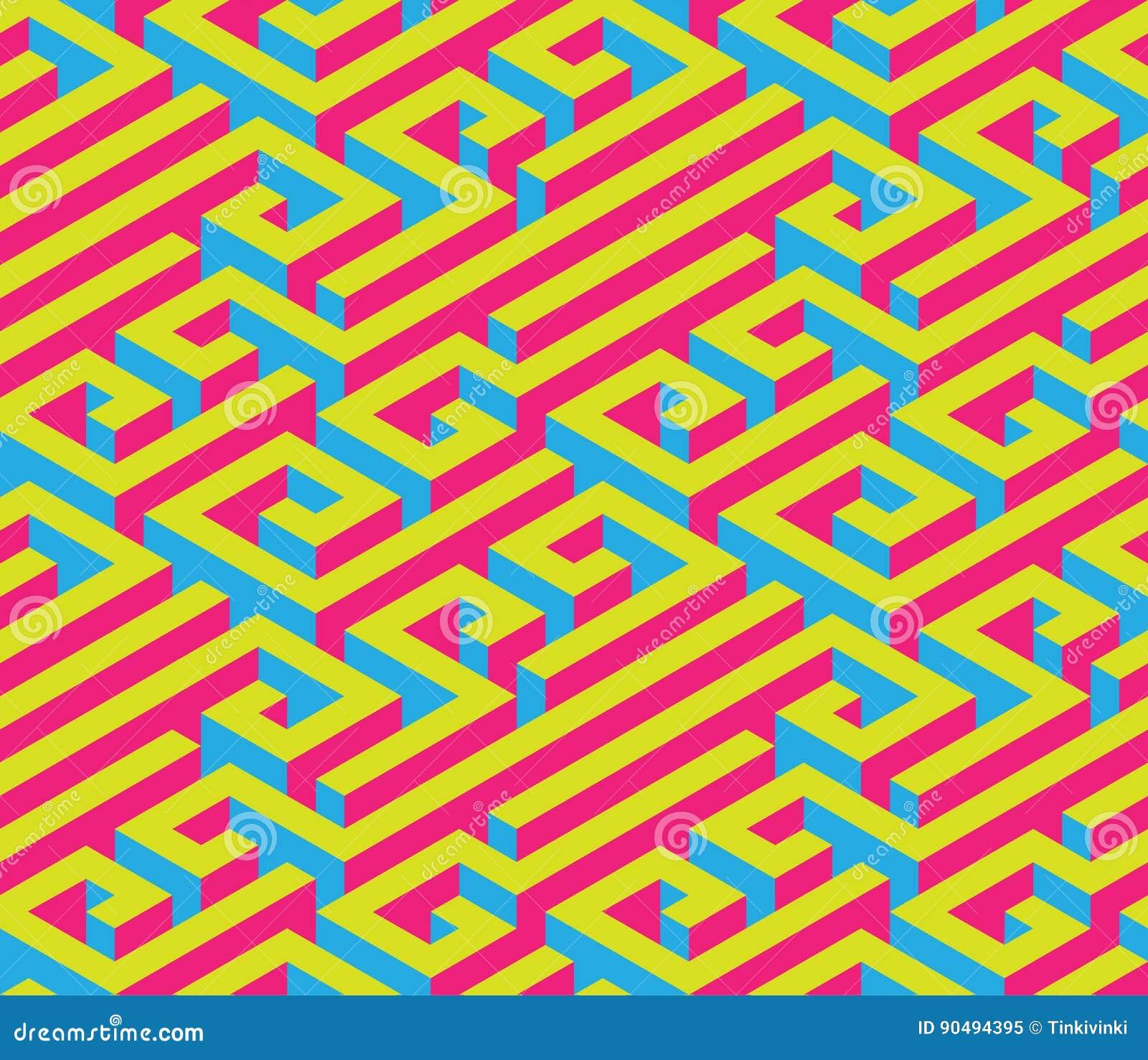 Färgrik isometrisk labyrint seamless prydnad Ljusa kontrastera färger Rött blått, guling