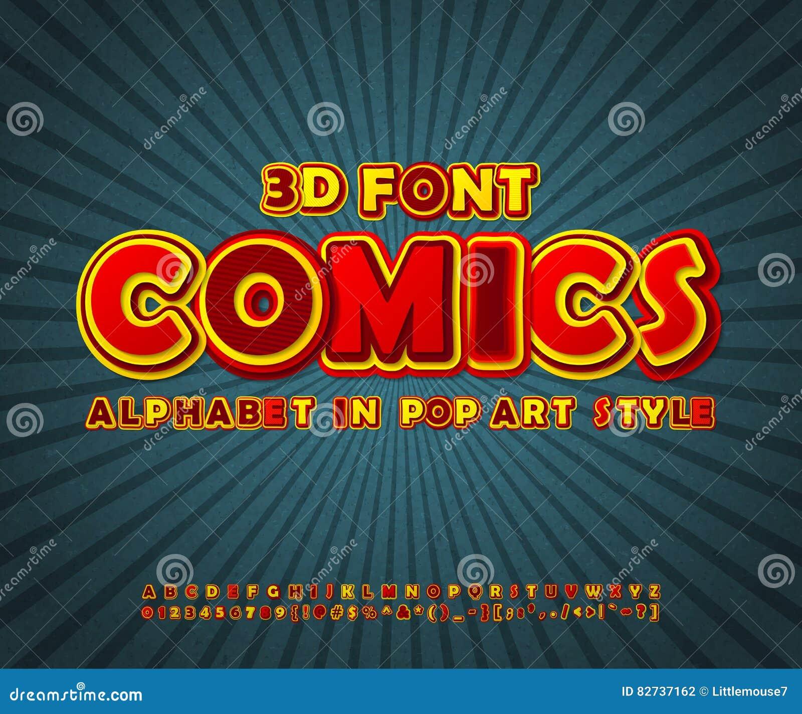 Färgrik komisk stilsort, alfabet Komikerbok, popkonst