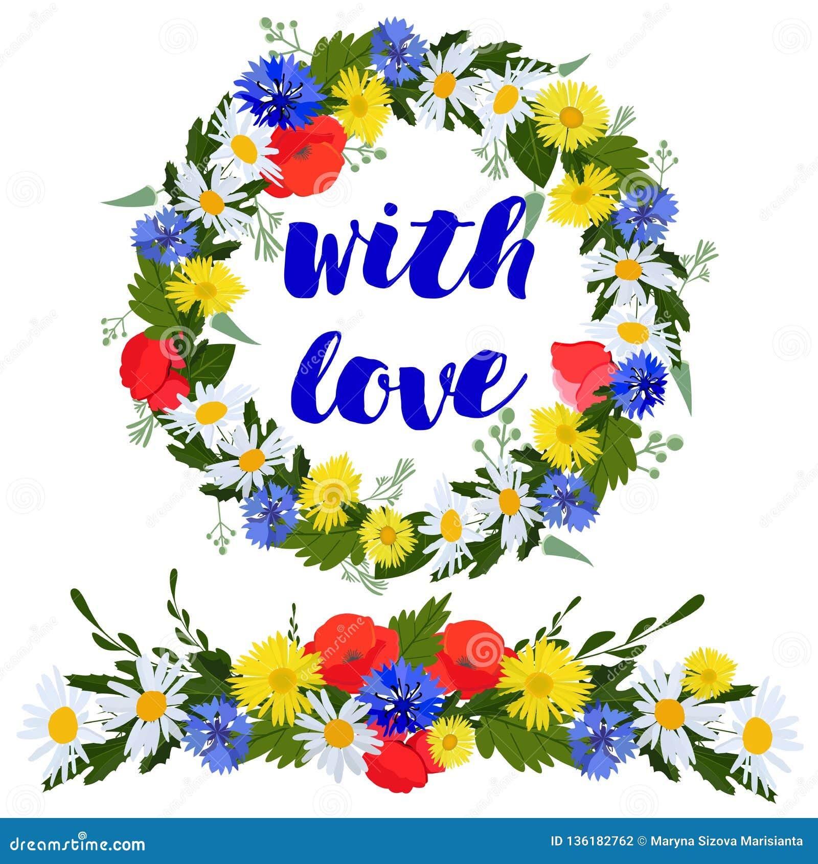 Färgrik krans och girland av lösa blommor som isoleras på en vit bakgrund med förälskelse