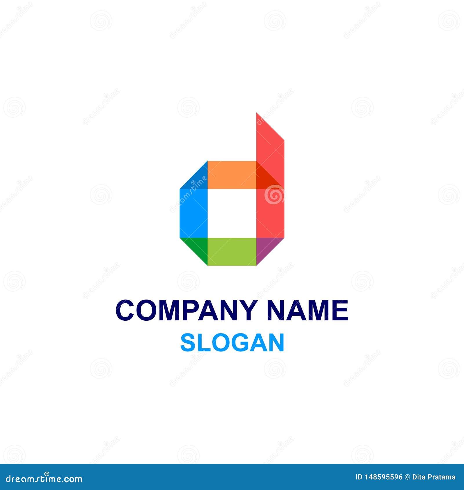 Färgrik logo för D-bokstavsinitial