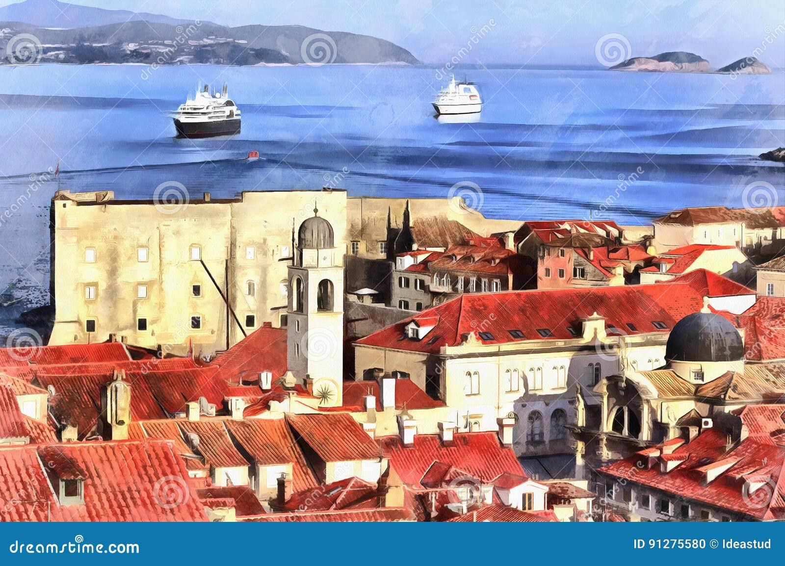 Färgrik målning av cityscape av Dubrovnik