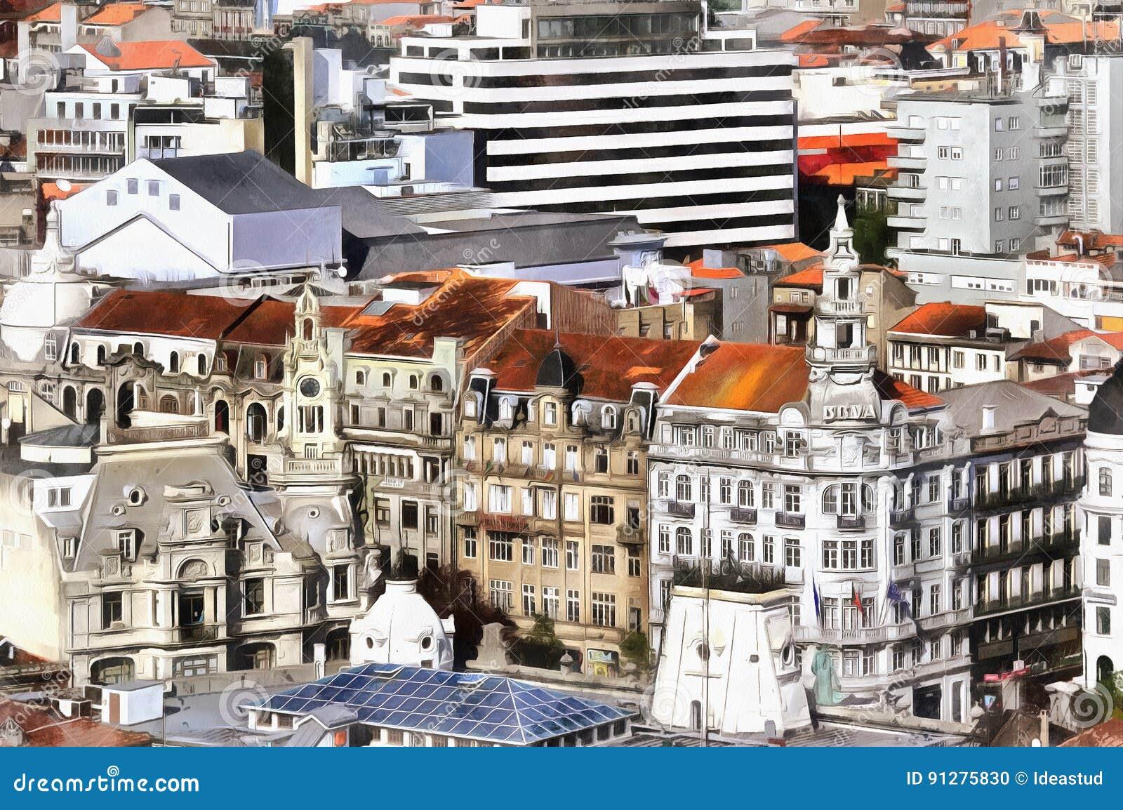Färgrik målning av den flyg- sikten för cityscape