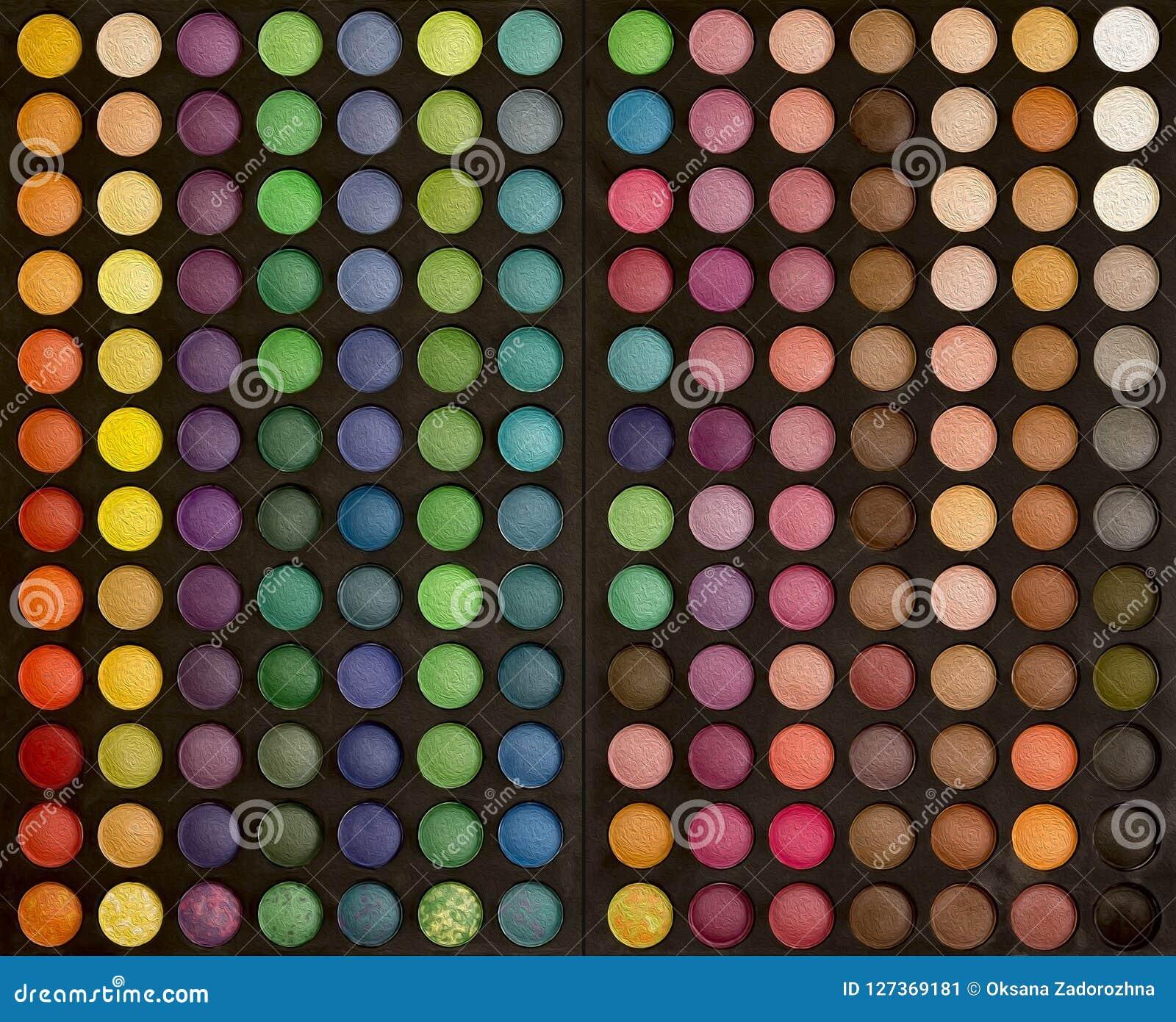 Färgrik makeupuppsättning av bakgrund för ögonskuggor