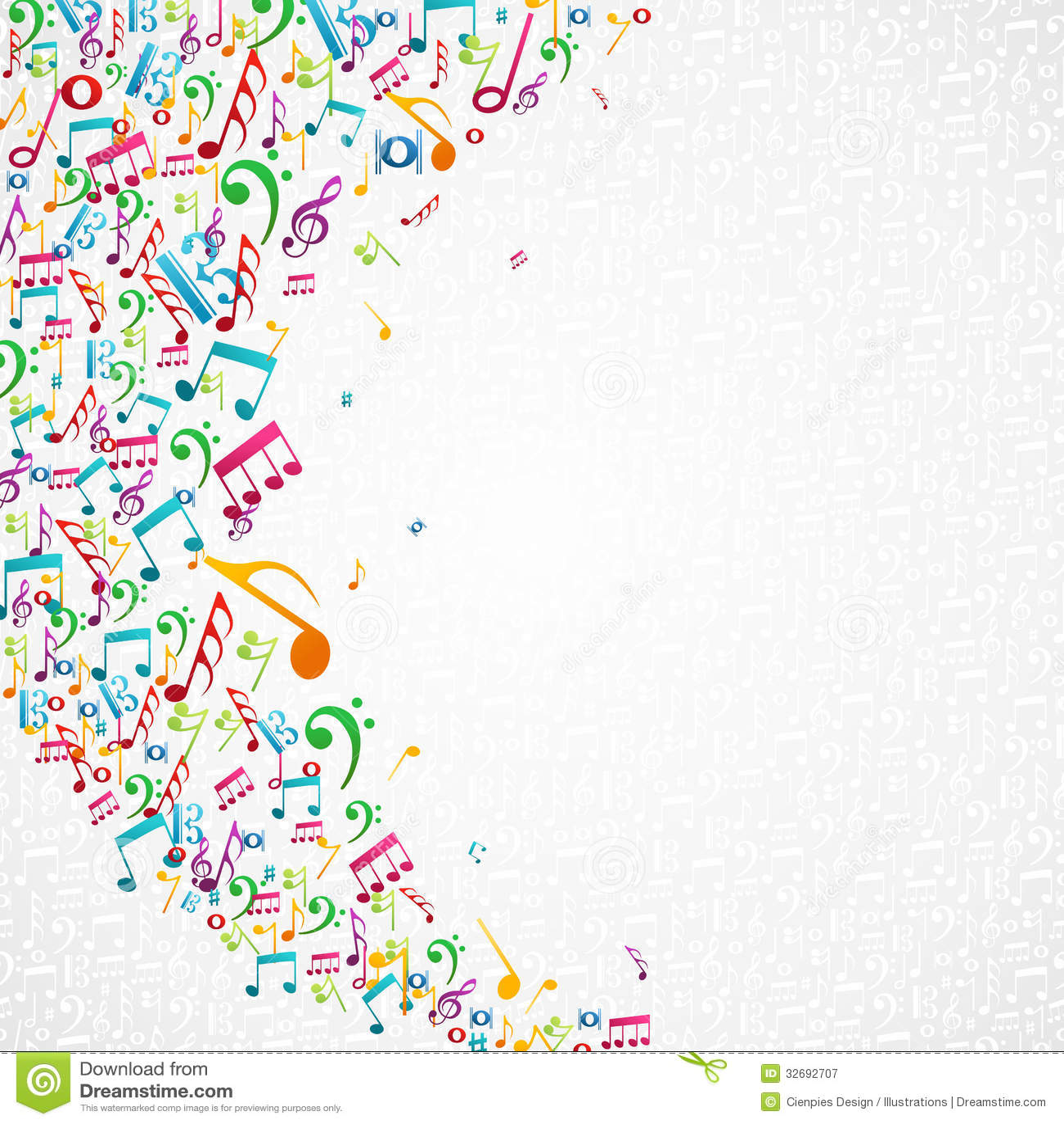 Färgrik musik noterar bakgrund