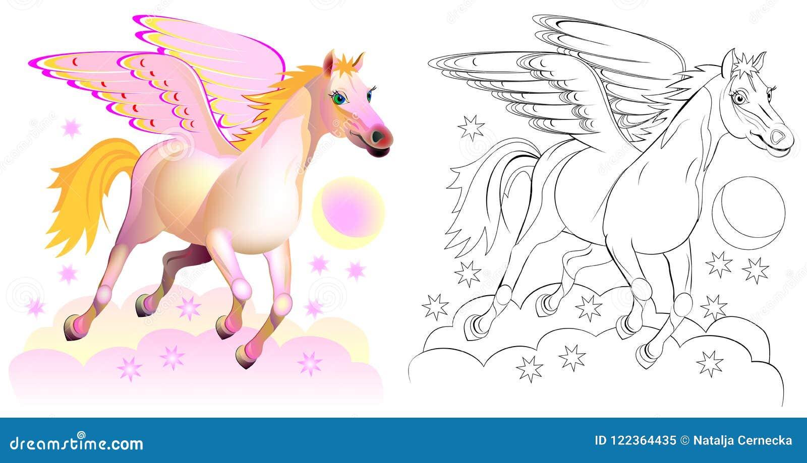 Färgrik och svartvit modell för att färga Fantasiillustration av gulliga Pegasus, bevingad häst i grekisk mytologi