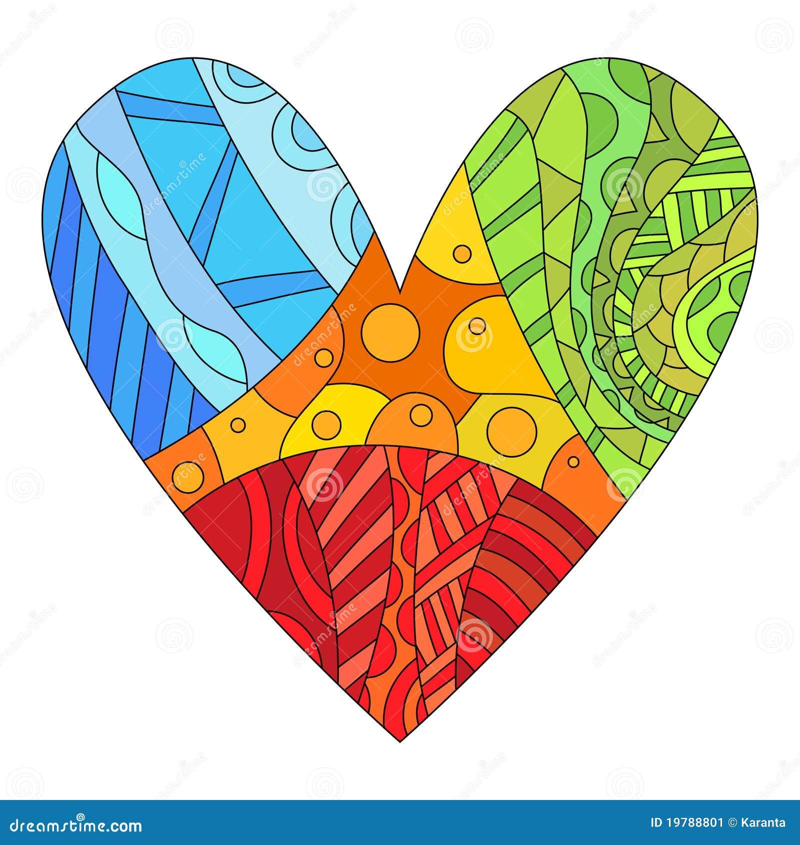 Färgrik olik hjärtamodell
