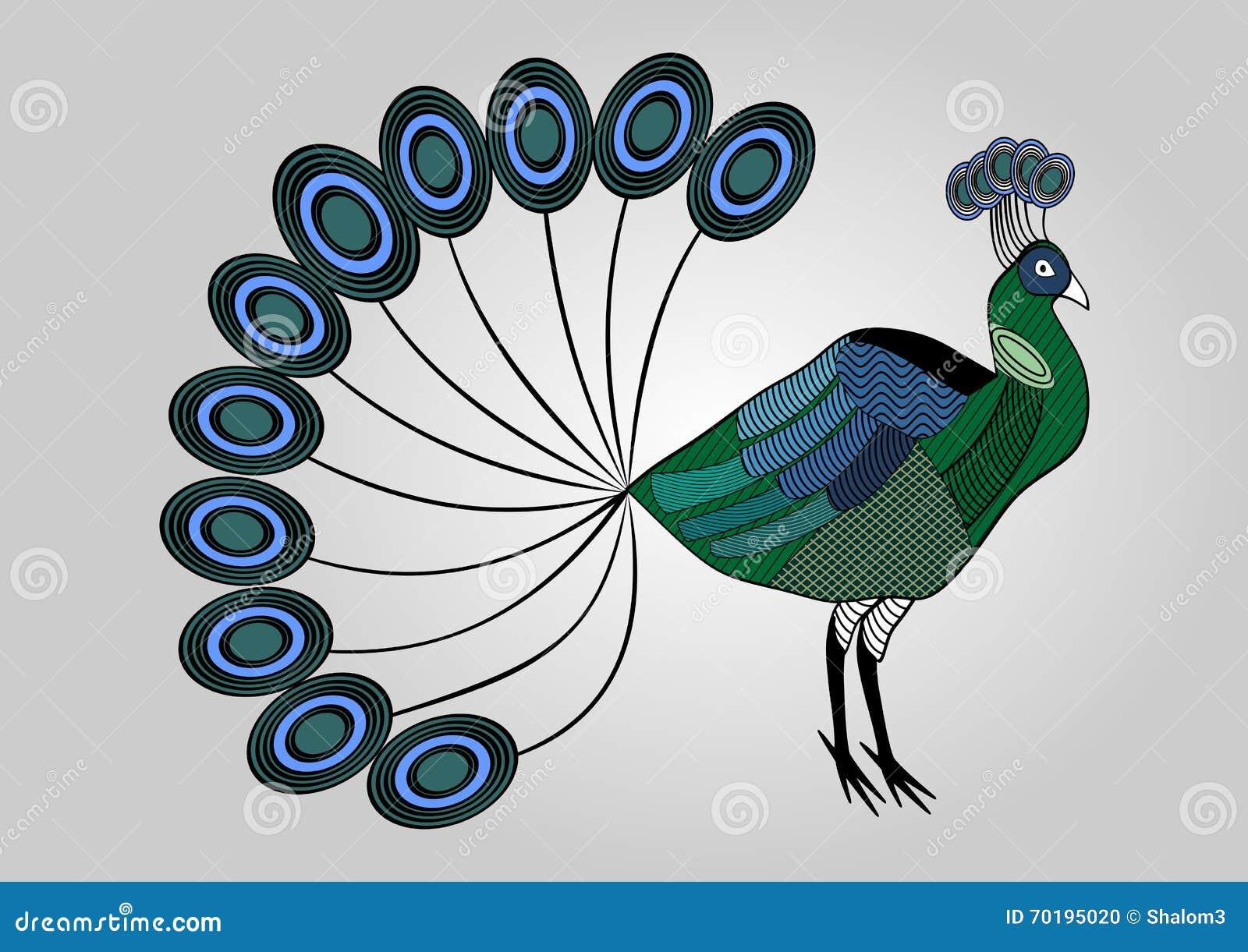 Färgrik påfågelillustration med kläckte mönstrade kroppsdelar, dekorativ fågel, anti--spänning färgläggning
