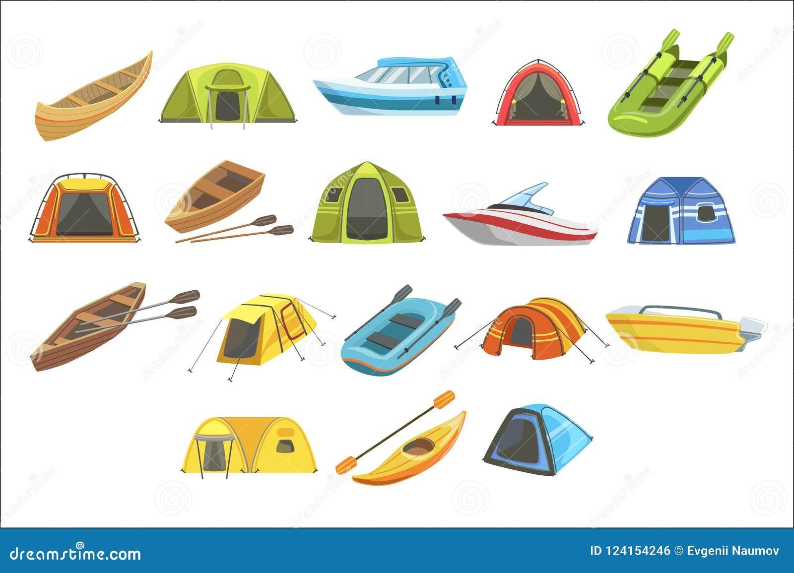 Färgrik presenningtältuppsättning av isolerade enkla barnsliga plana illustrationer